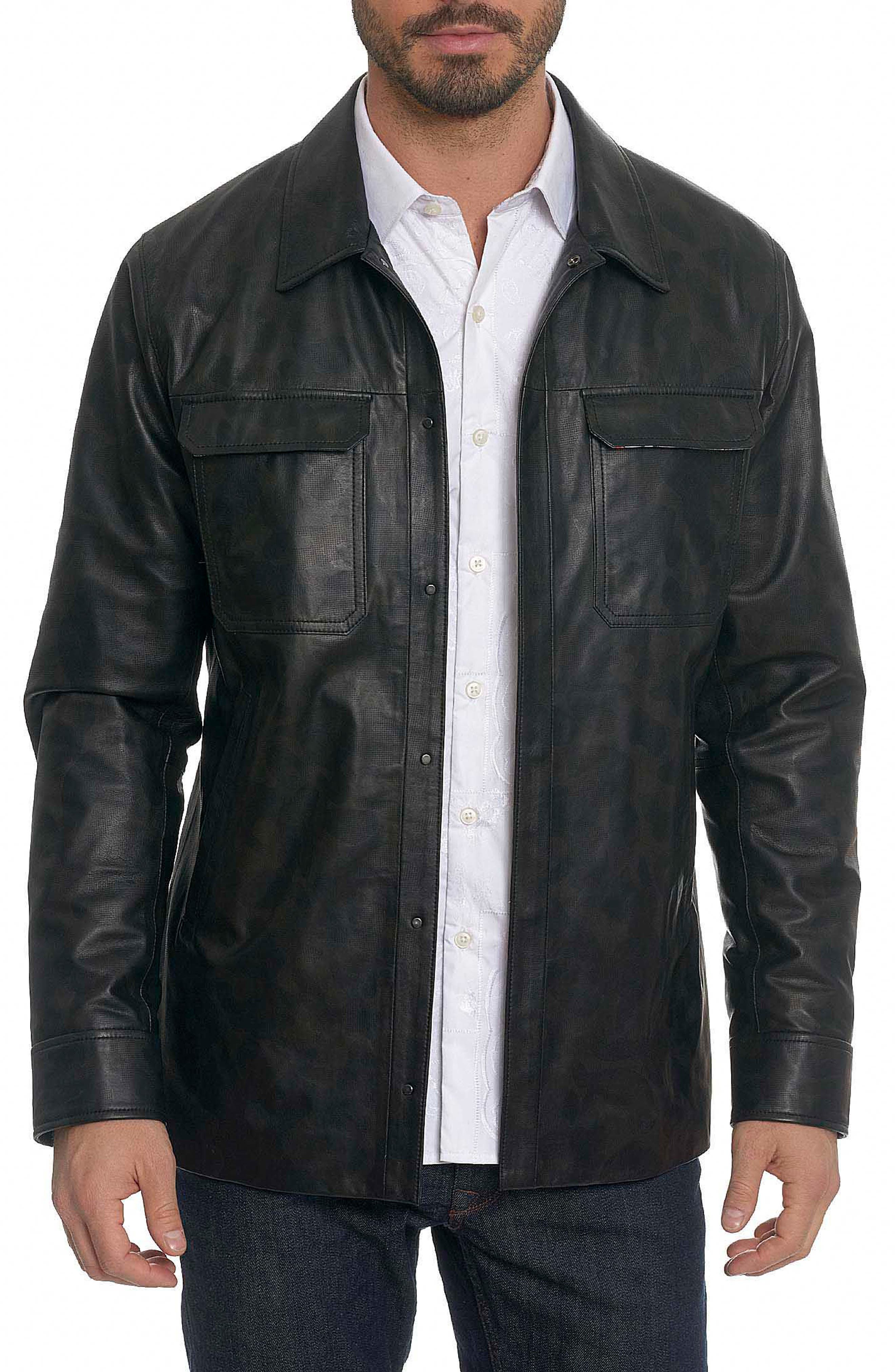Colden Camo Leather Shirt Jacket,                         Main,                         color, Black