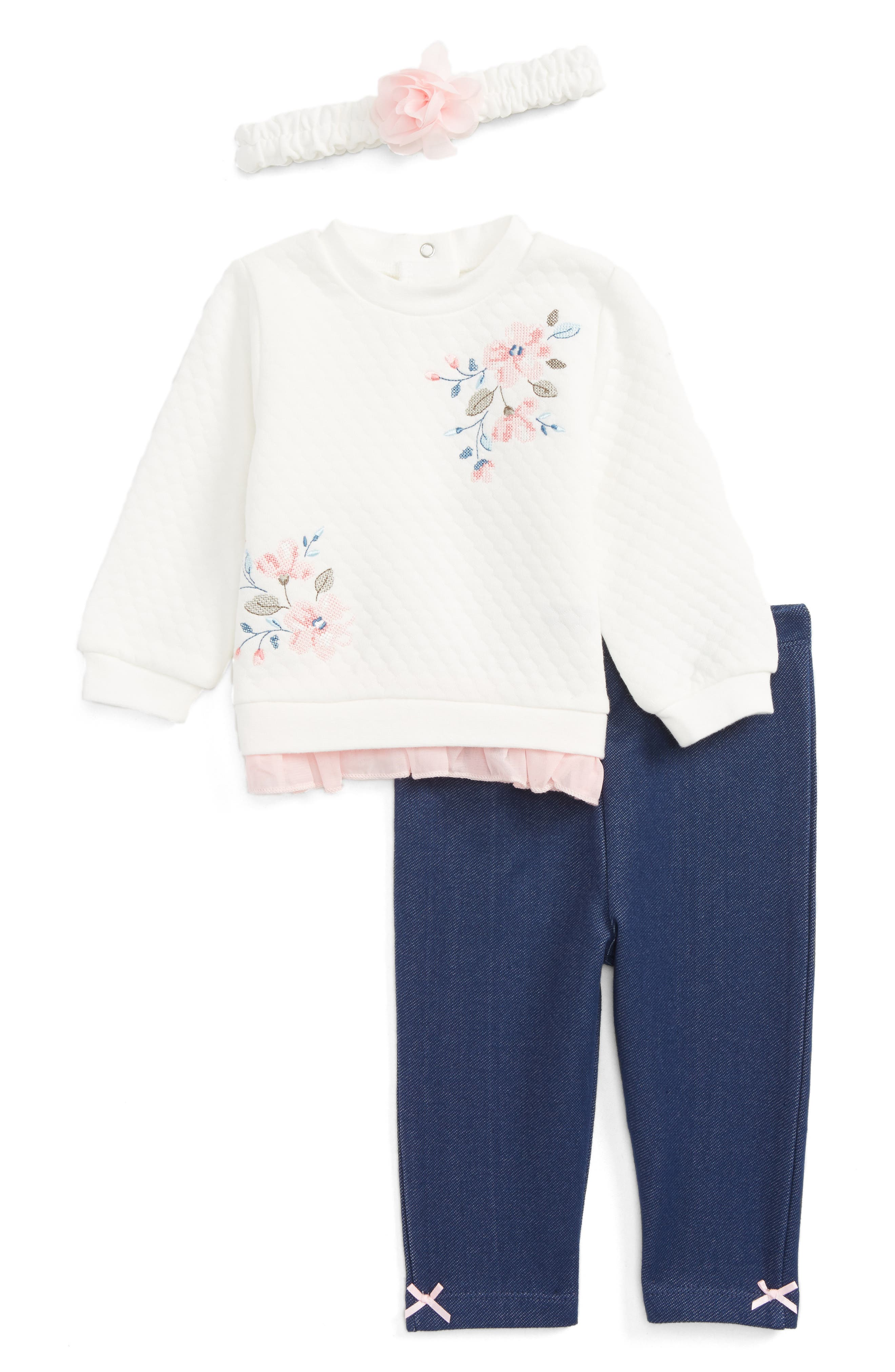 LITTLE ME Blossoms Tunic, Leggings & Headband Set