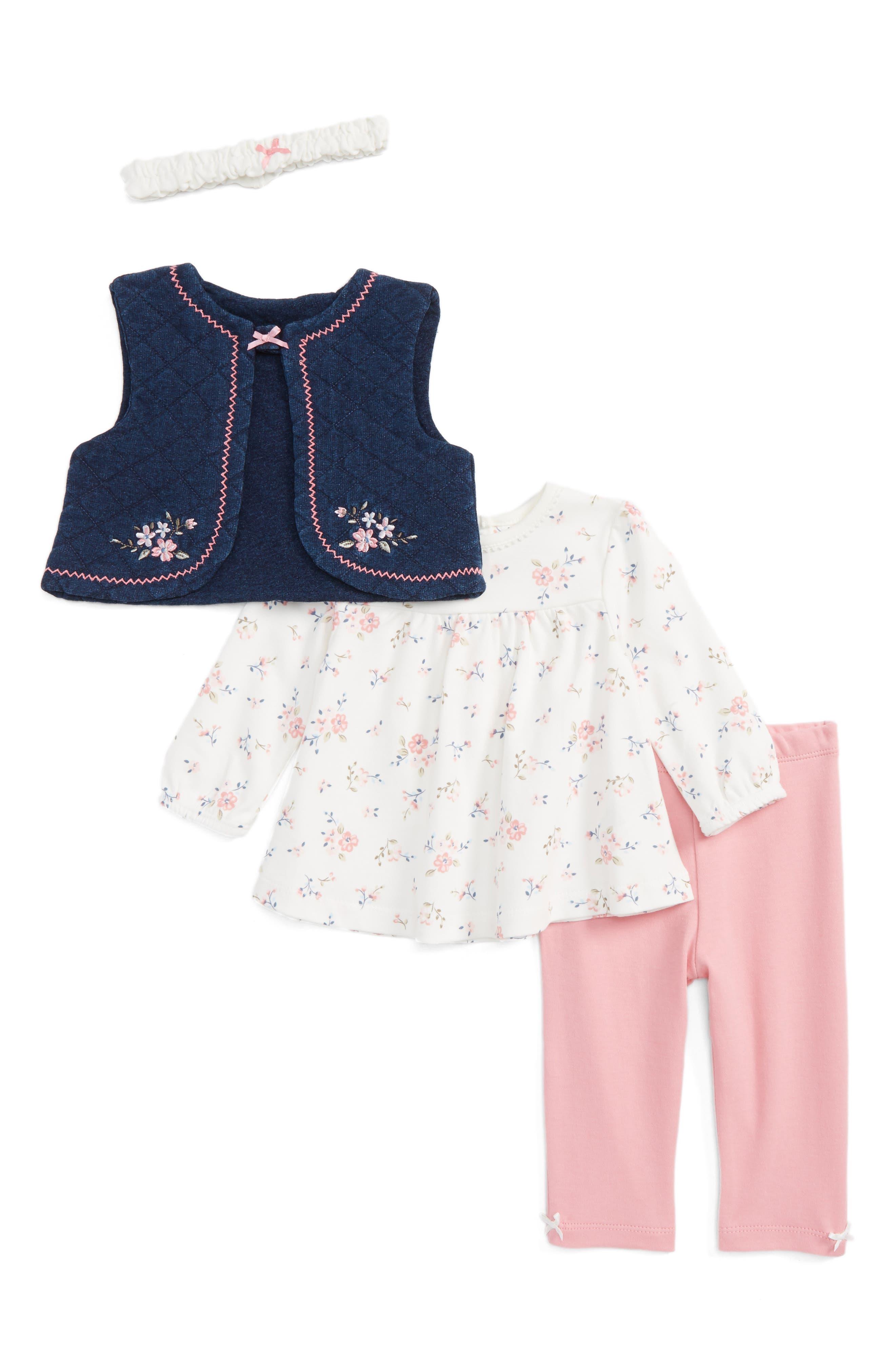 Main Image - Little Me Vest, Tee, Leggings & Headband Set (Baby Girls)