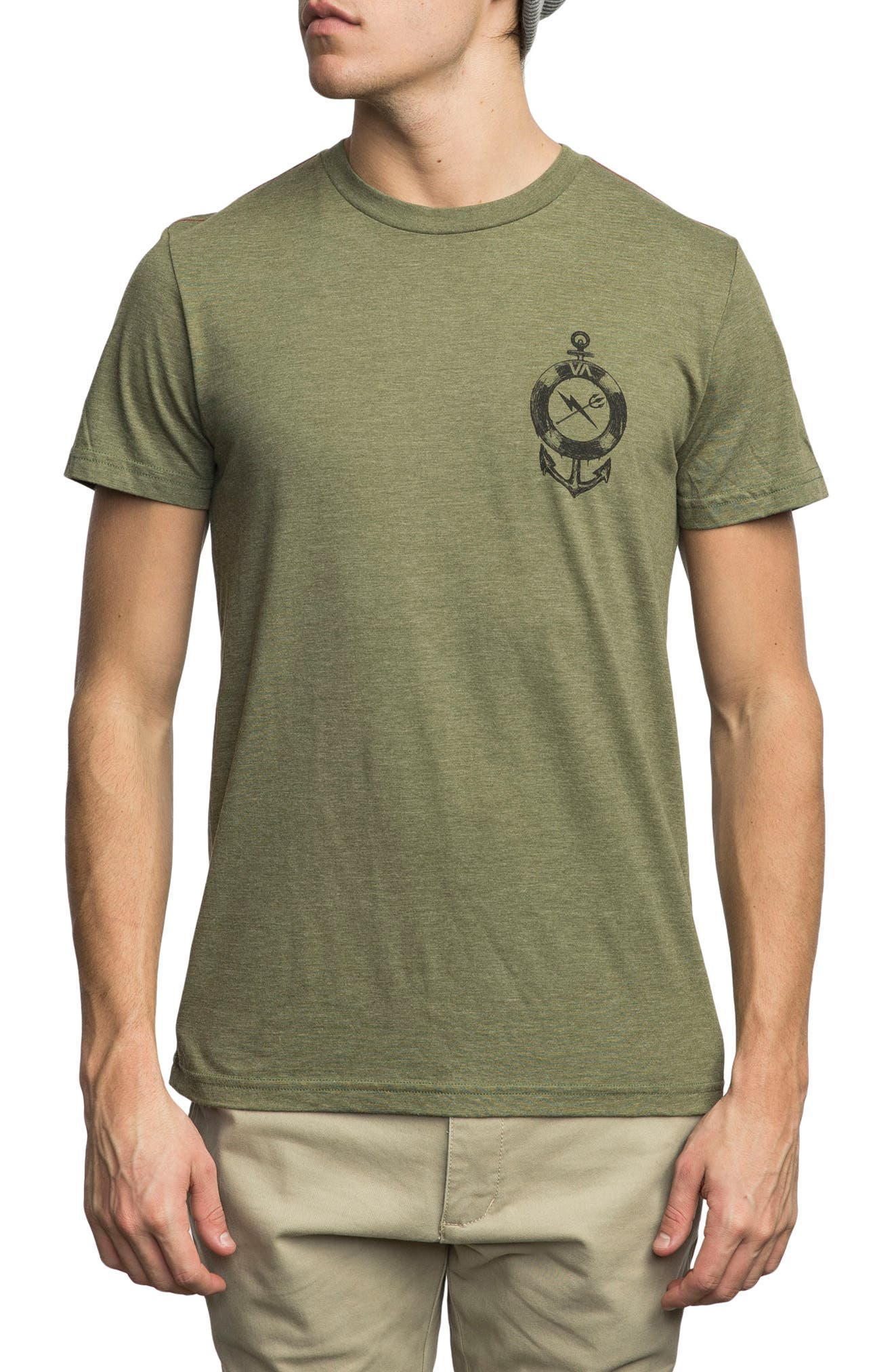 Sea Life Graphic T-Shirt,                             Main thumbnail 1, color,                             Burnt Olive