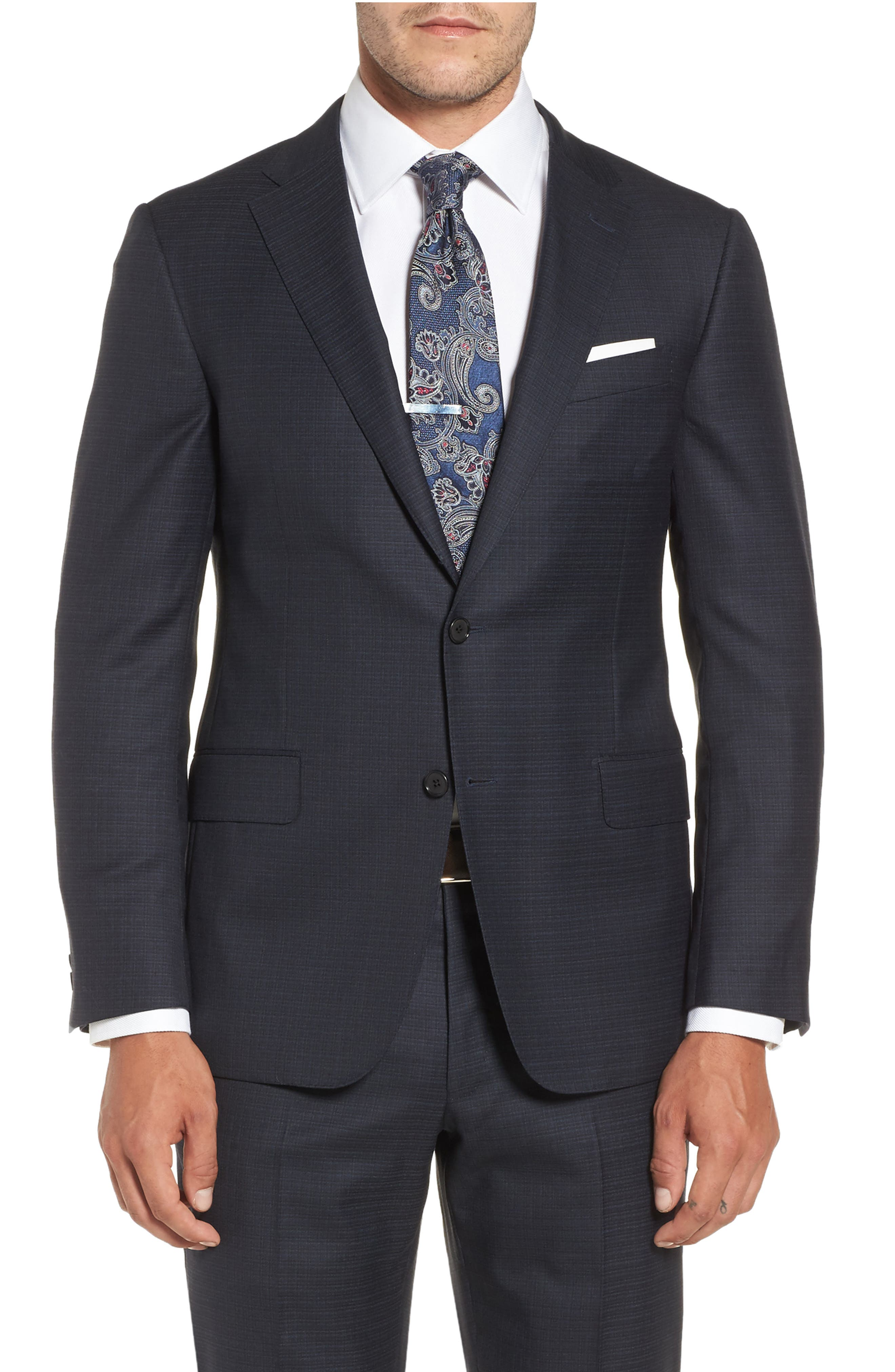 Classic B Fit Check Wool & Cashmere Suit,                             Alternate thumbnail 5, color,                             Navy
