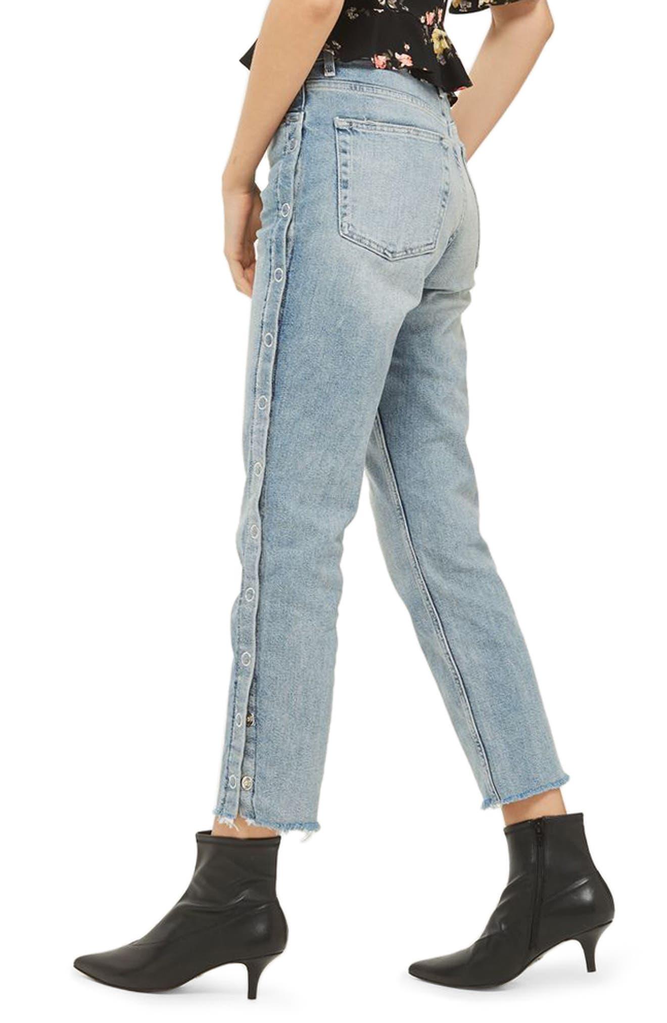 Side Snap Straight Leg Jeans,                             Alternate thumbnail 3, color,                             Light Denim