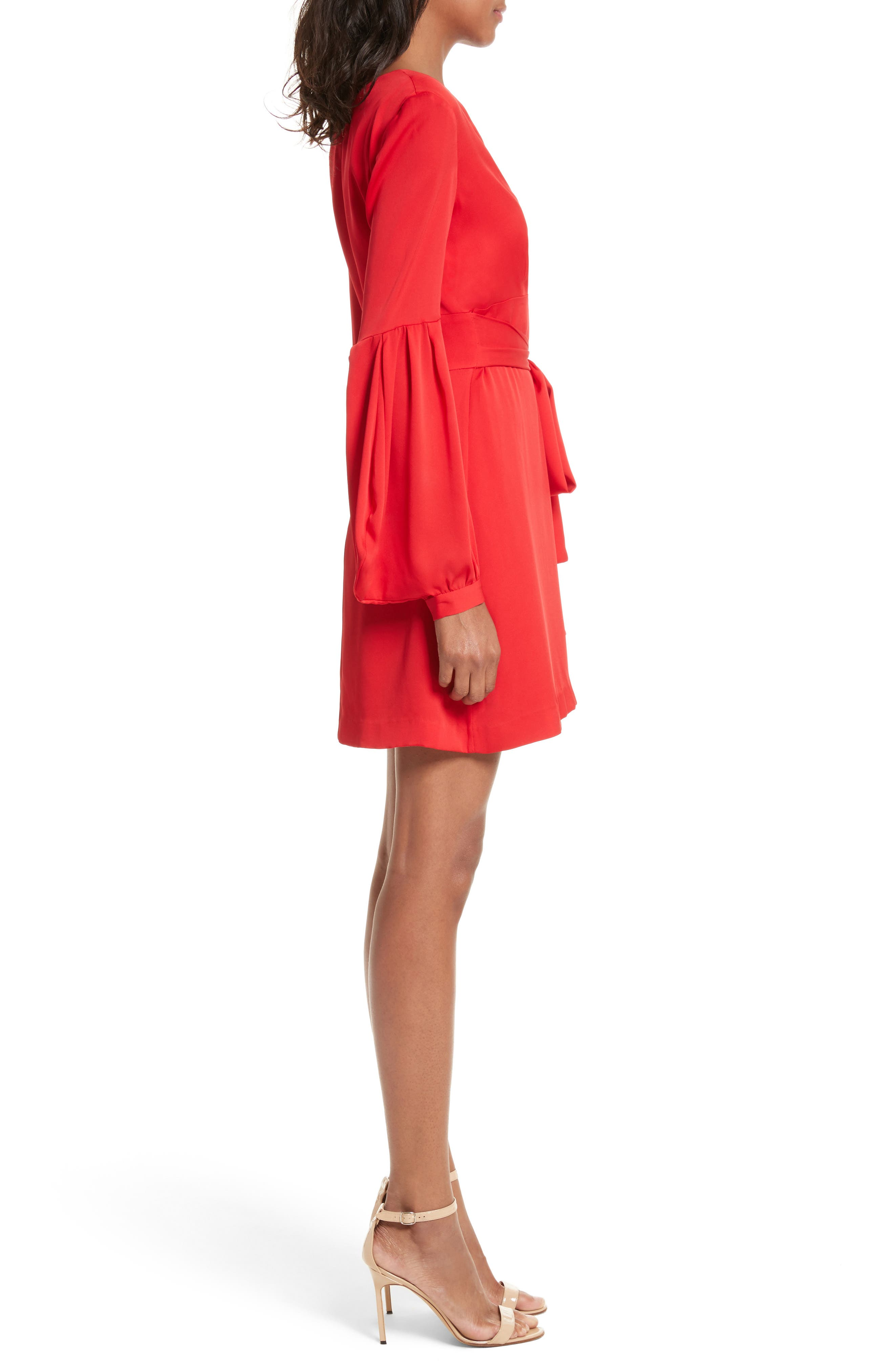 Kayla Deep V-Neck Stretch Silk Dress,                             Alternate thumbnail 3, color,                             Lipstick