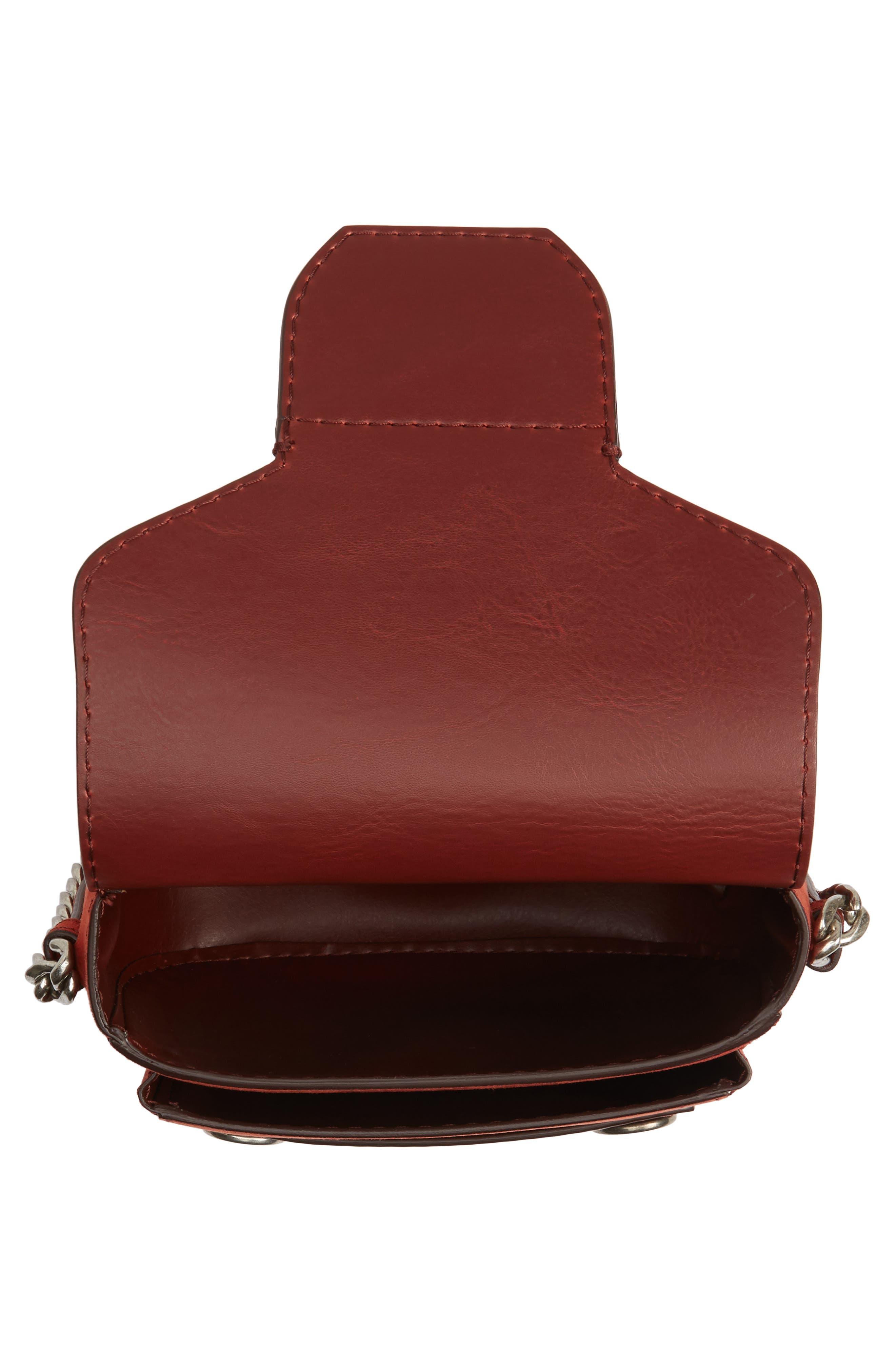 Faux Leather Shoulder Bag,                             Alternate thumbnail 3, color,                             Henna