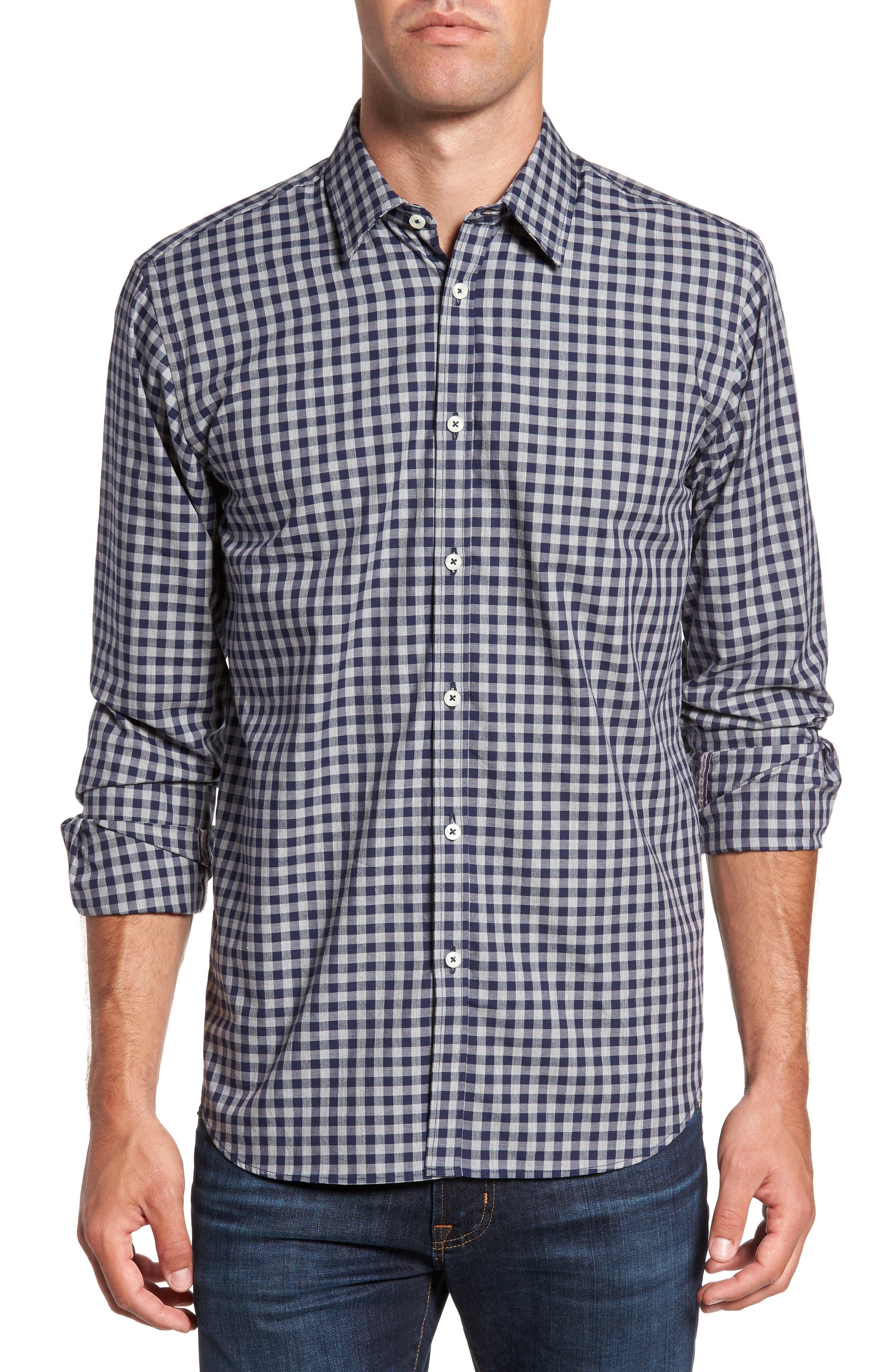 Slim Fit Check Sport Shirt,                         Main,                         color, Dark Grey