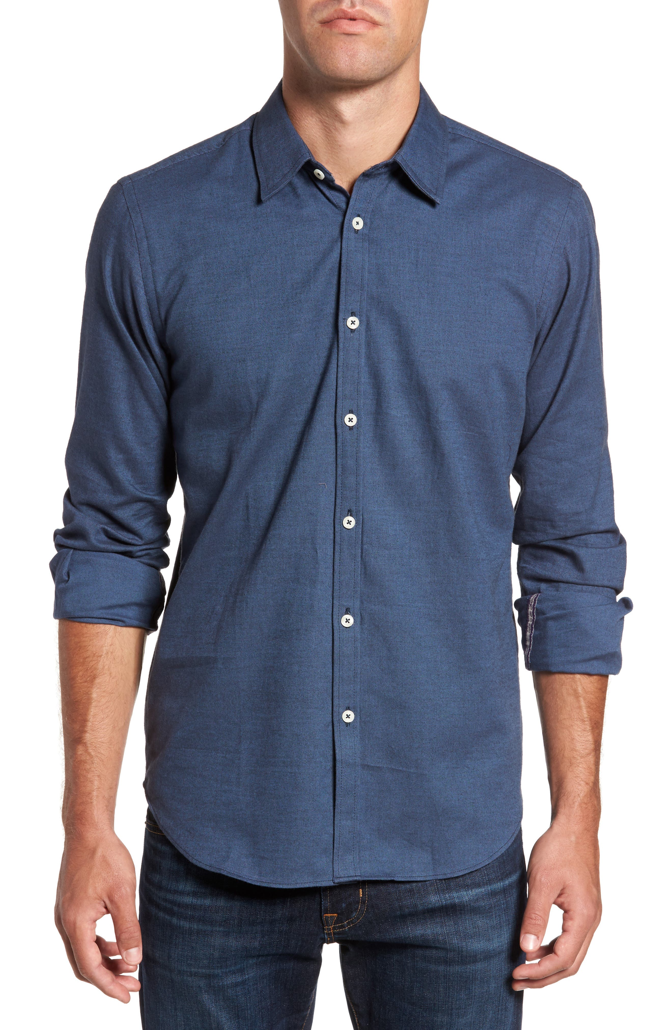 Slim Fit Solid Sport Shirt,                         Main,                         color, Navy