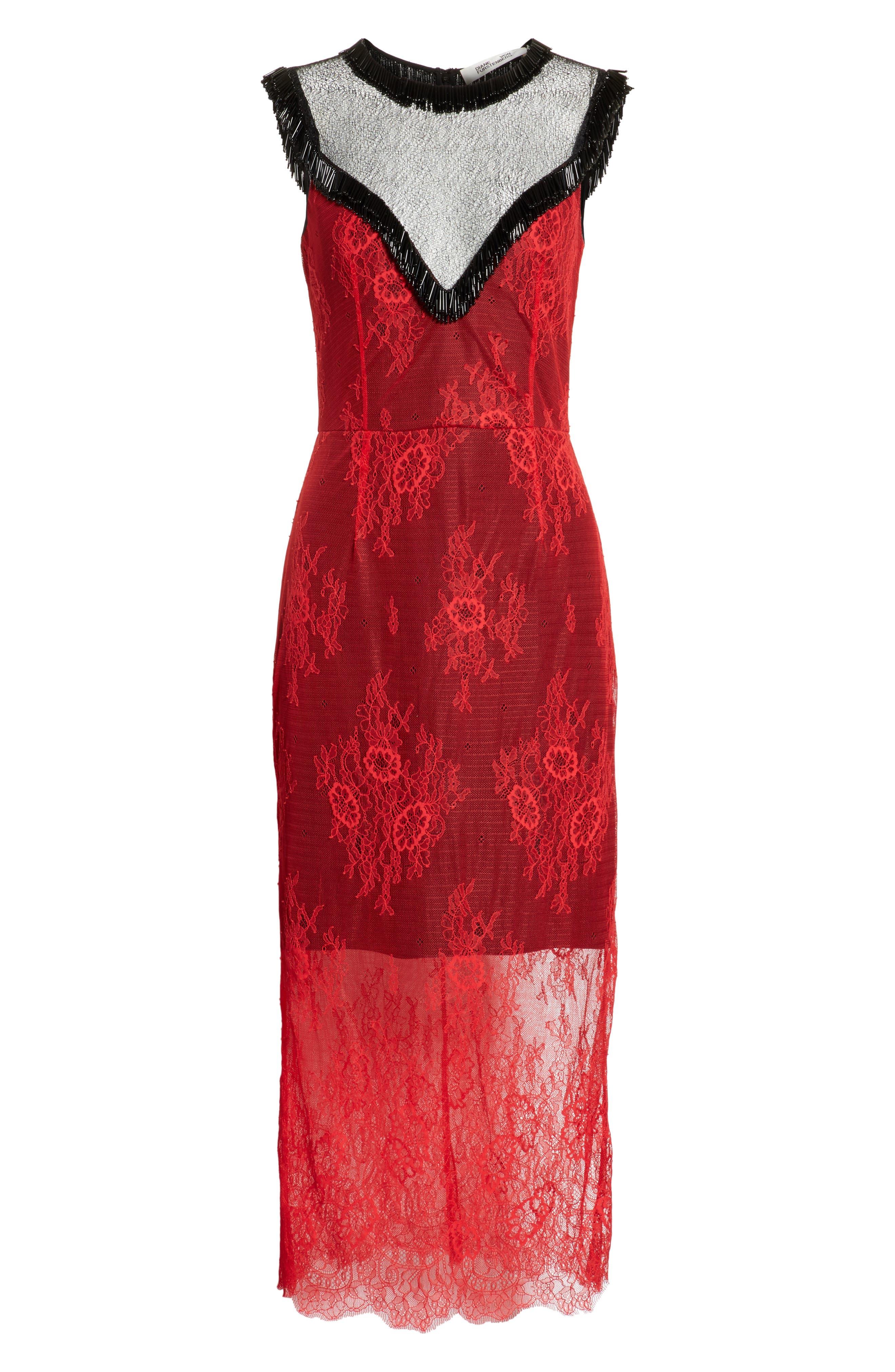 Diane von Furstenberg Beaded Lace Overlay Dress,                             Alternate thumbnail 6, color,                             Lipstick/ Black