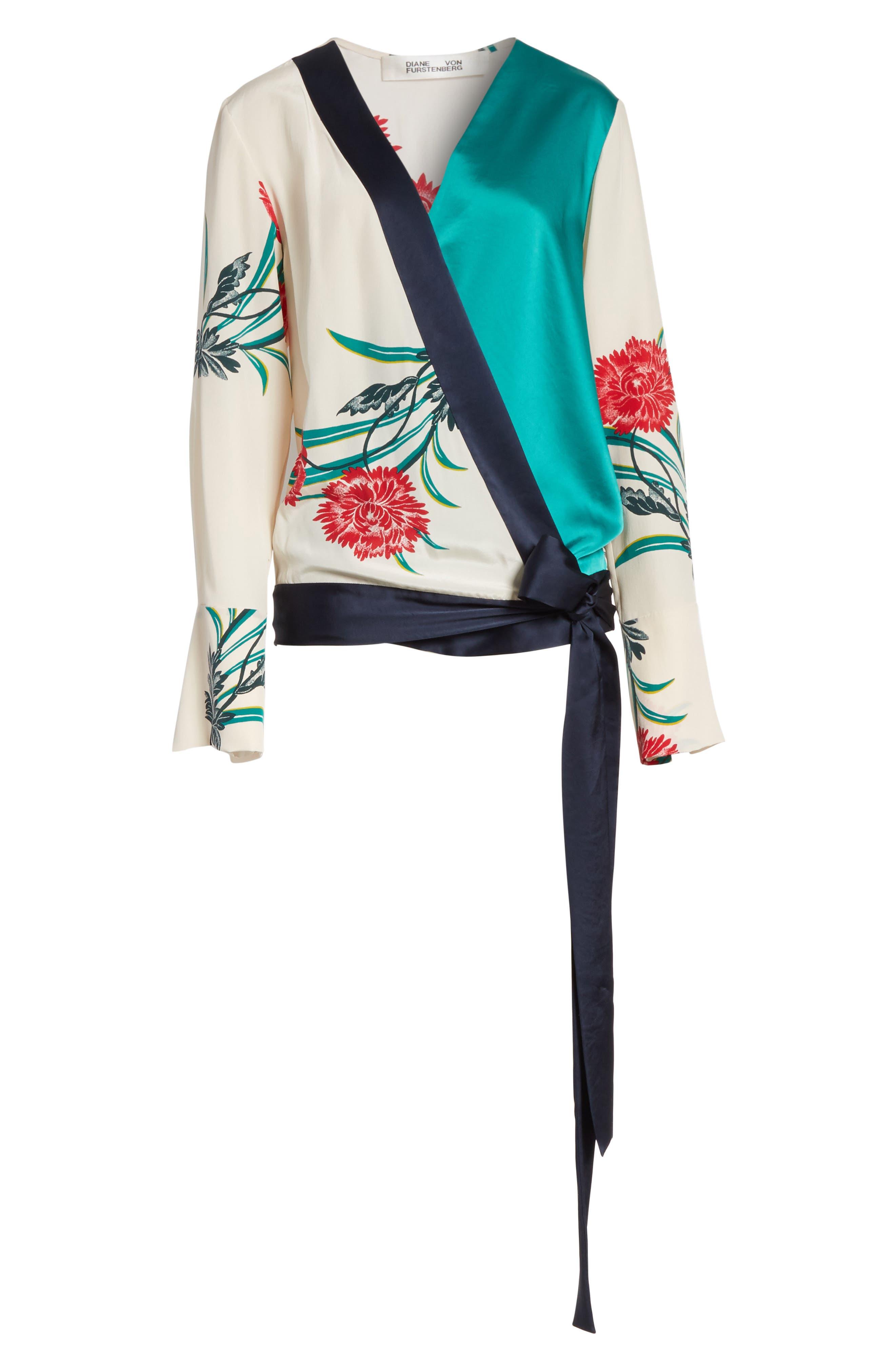 Diane von Furstenberg Bell Sleeve Crossover Silk Blouse,                             Alternate thumbnail 5, color,                             Farren Pearl/ Alex Navy/ Jade