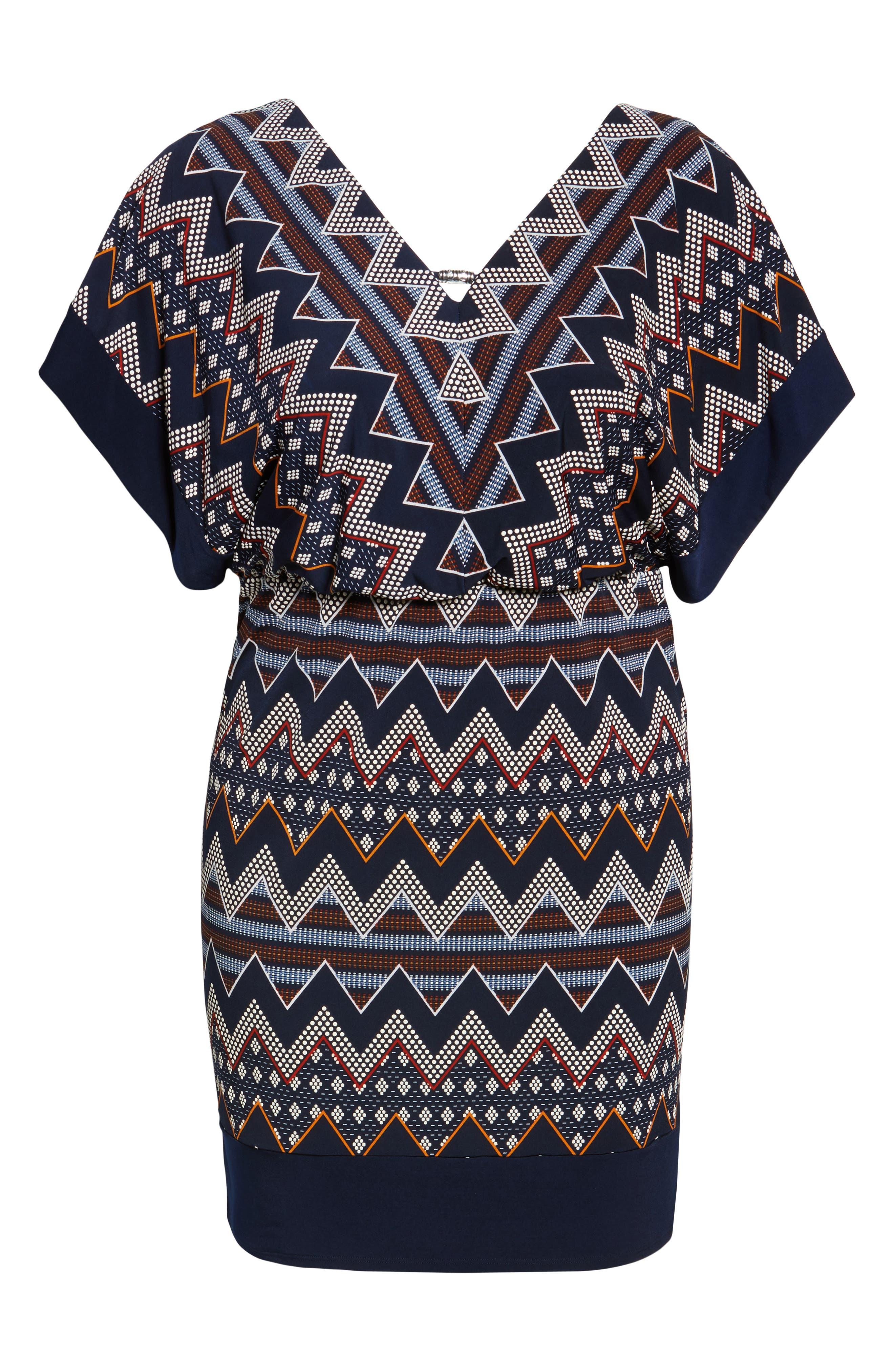 Puff Print Blouson Dress,                             Alternate thumbnail 6, color,                             Multi