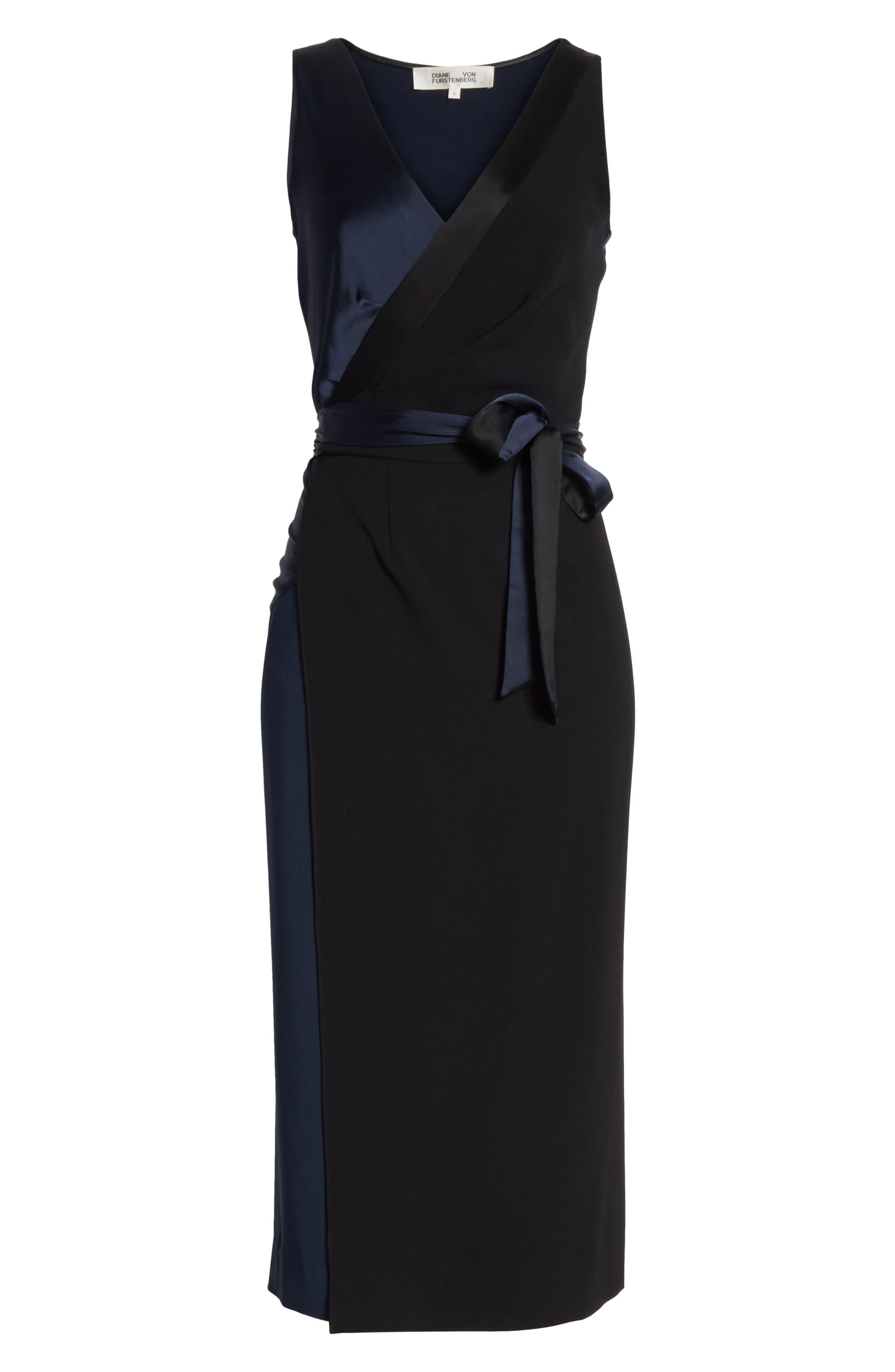 Midi Wrap Dress,                             Alternate thumbnail 6, color,                             Alexander Navy/ Black