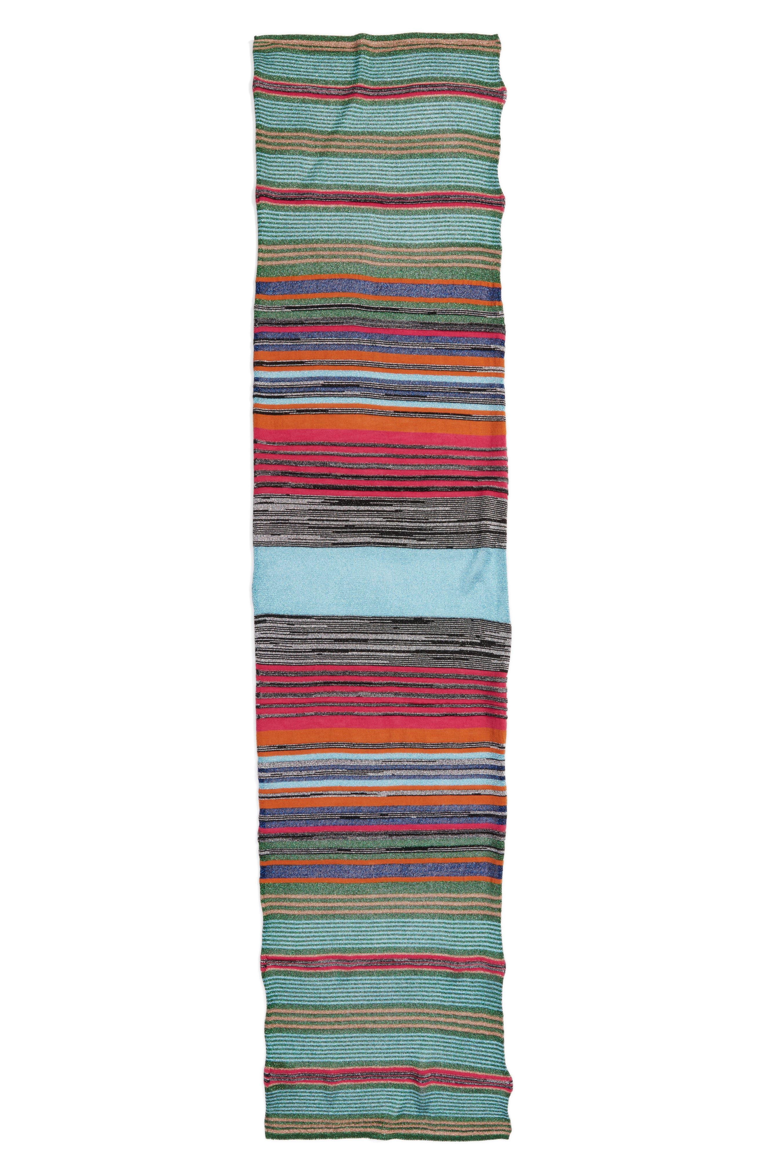 Metallic Stripe Scarf,                         Main,                         color, Green