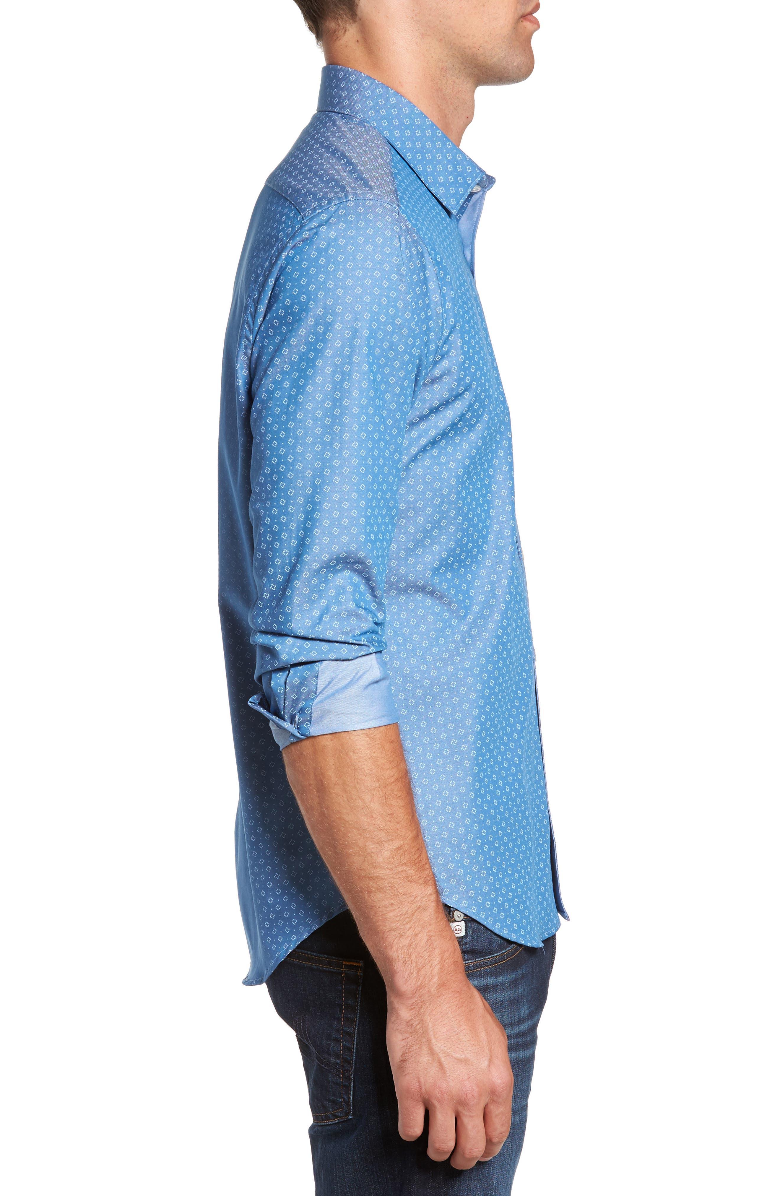 Camden Slim Fit Micro Print Sport Shirt,                             Alternate thumbnail 3, color,                             Blue