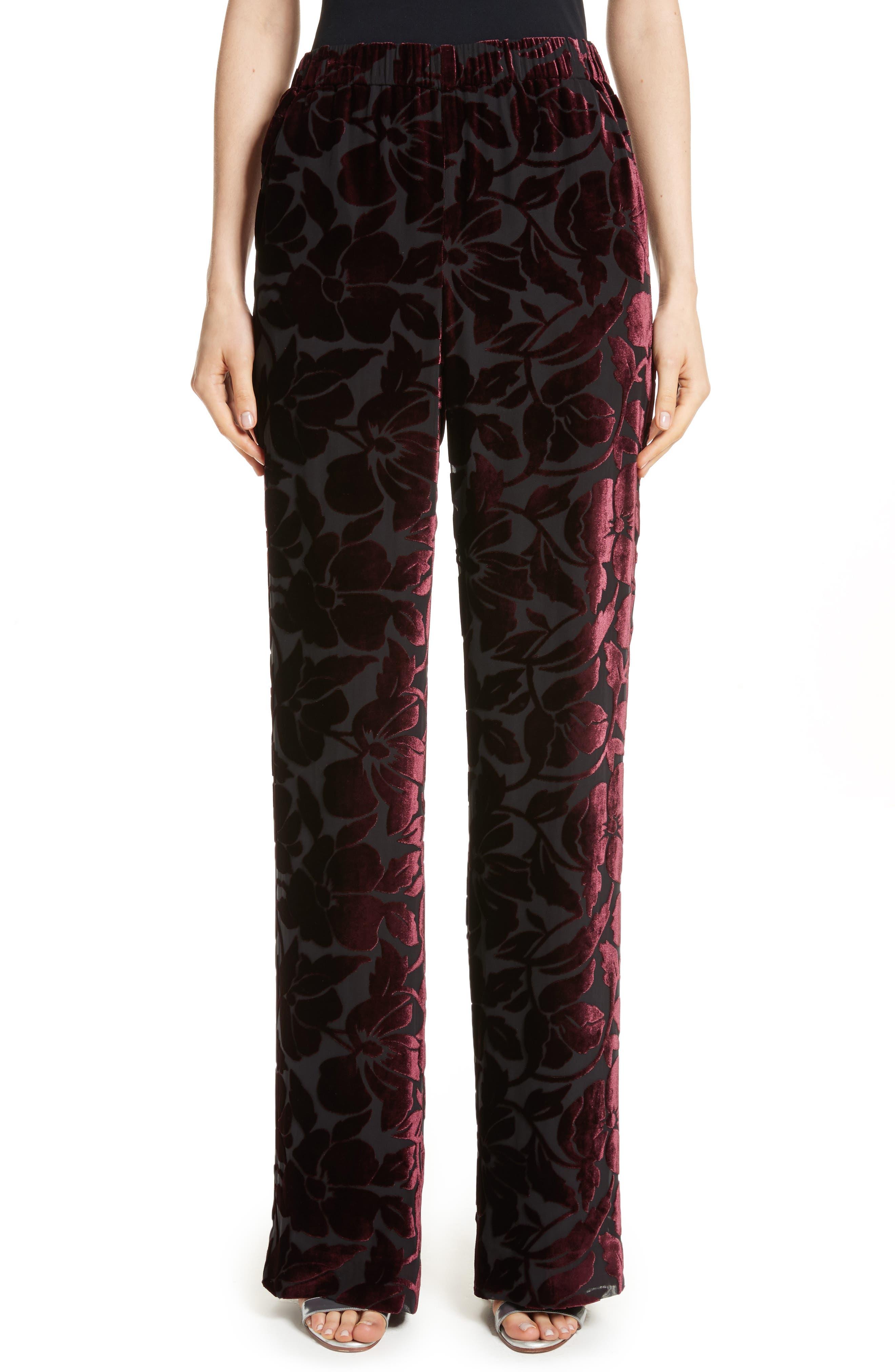 Velvet Floral Burnout Pants,                         Main,                         color, Fig/ Caviar