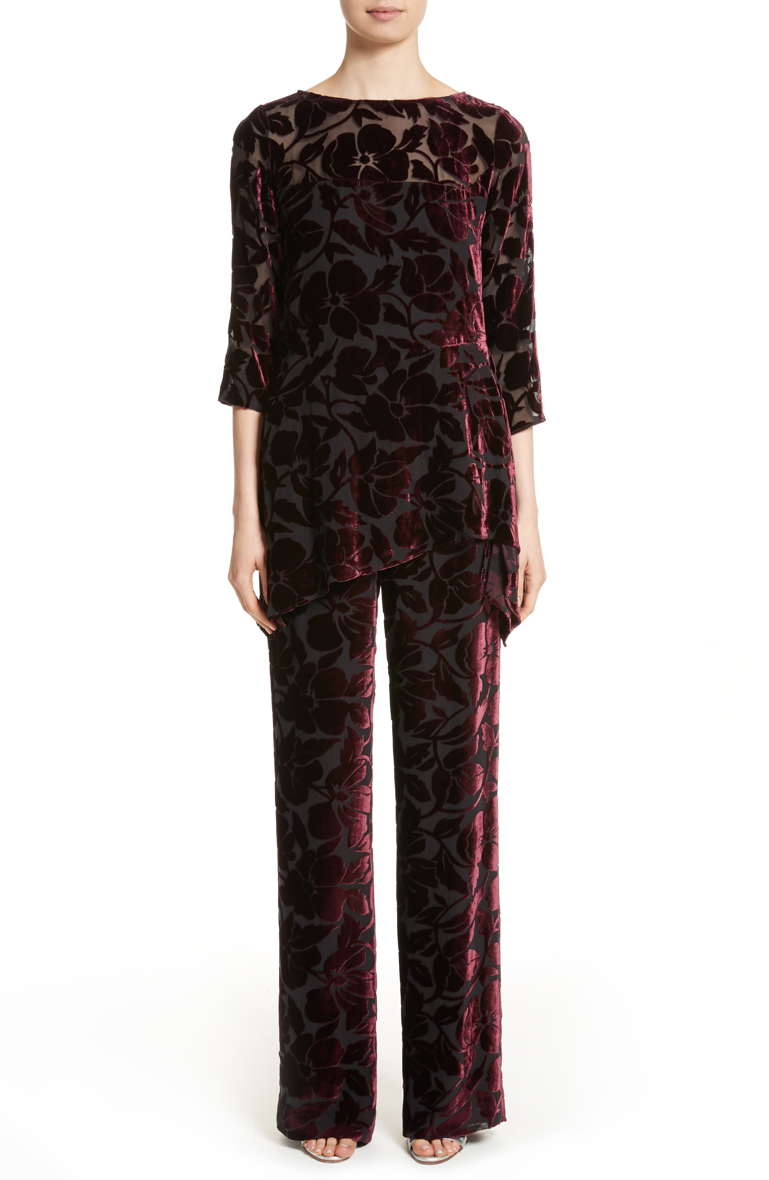 Alternate Image 6  - St. John Collection Velvet Floral Burnout Pants