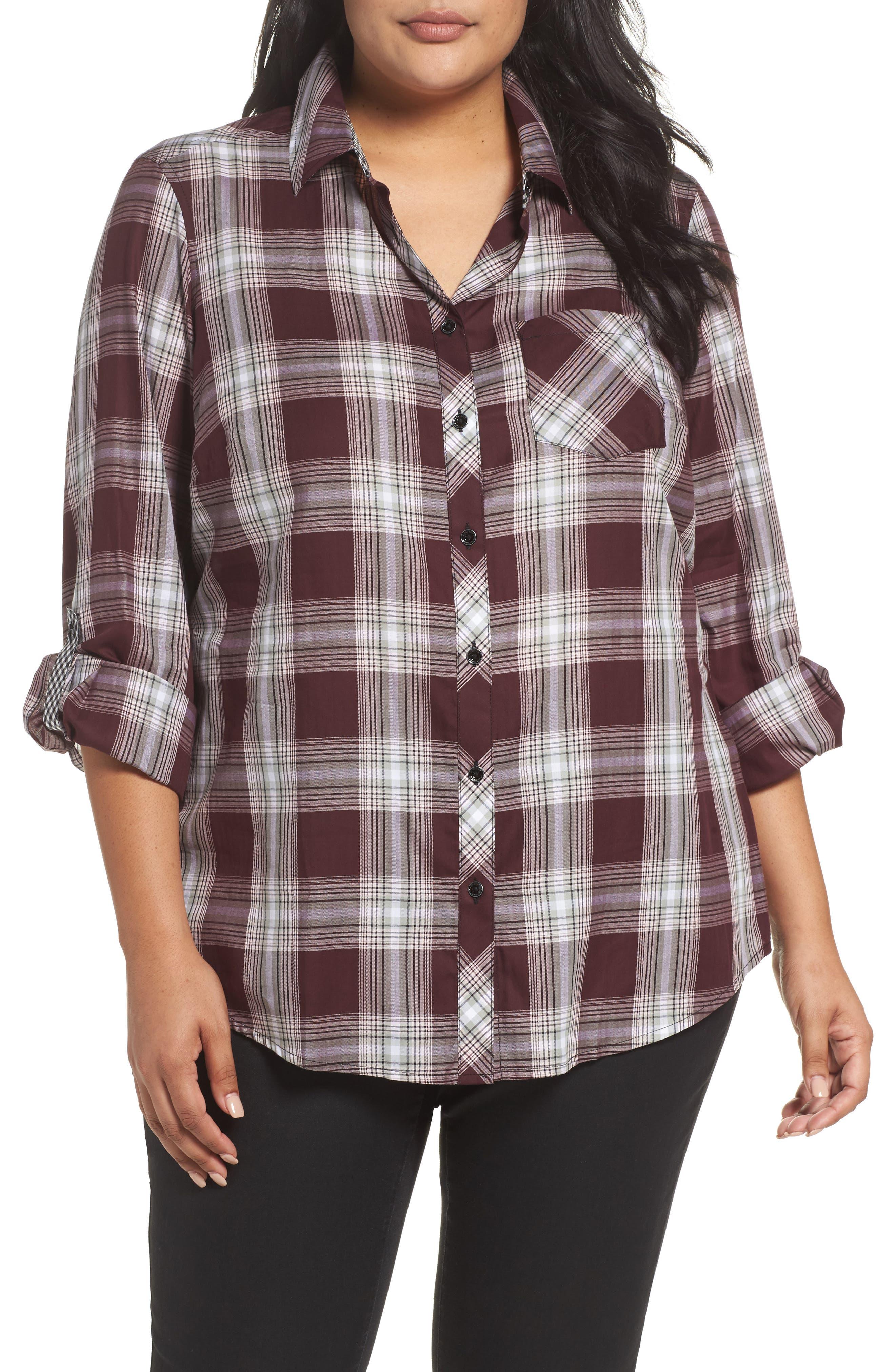 Alternate Image 1 Selected - Foxcroft Addison Plaid Cotton Shirt (Plus Size)