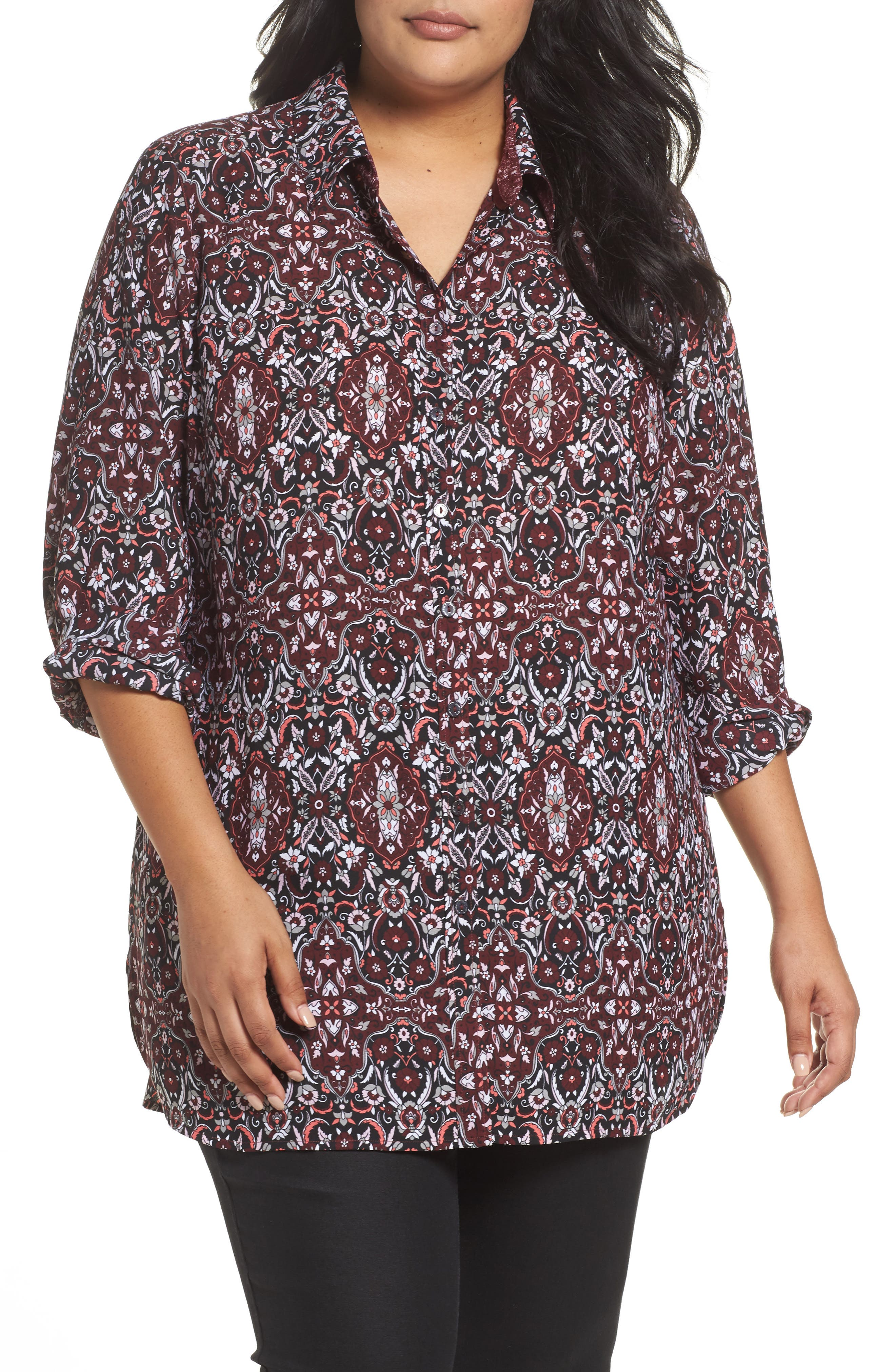 Alternate Image 1 Selected - Foxcroft Jade Heirloom Paisley Shirt (Plus Size)