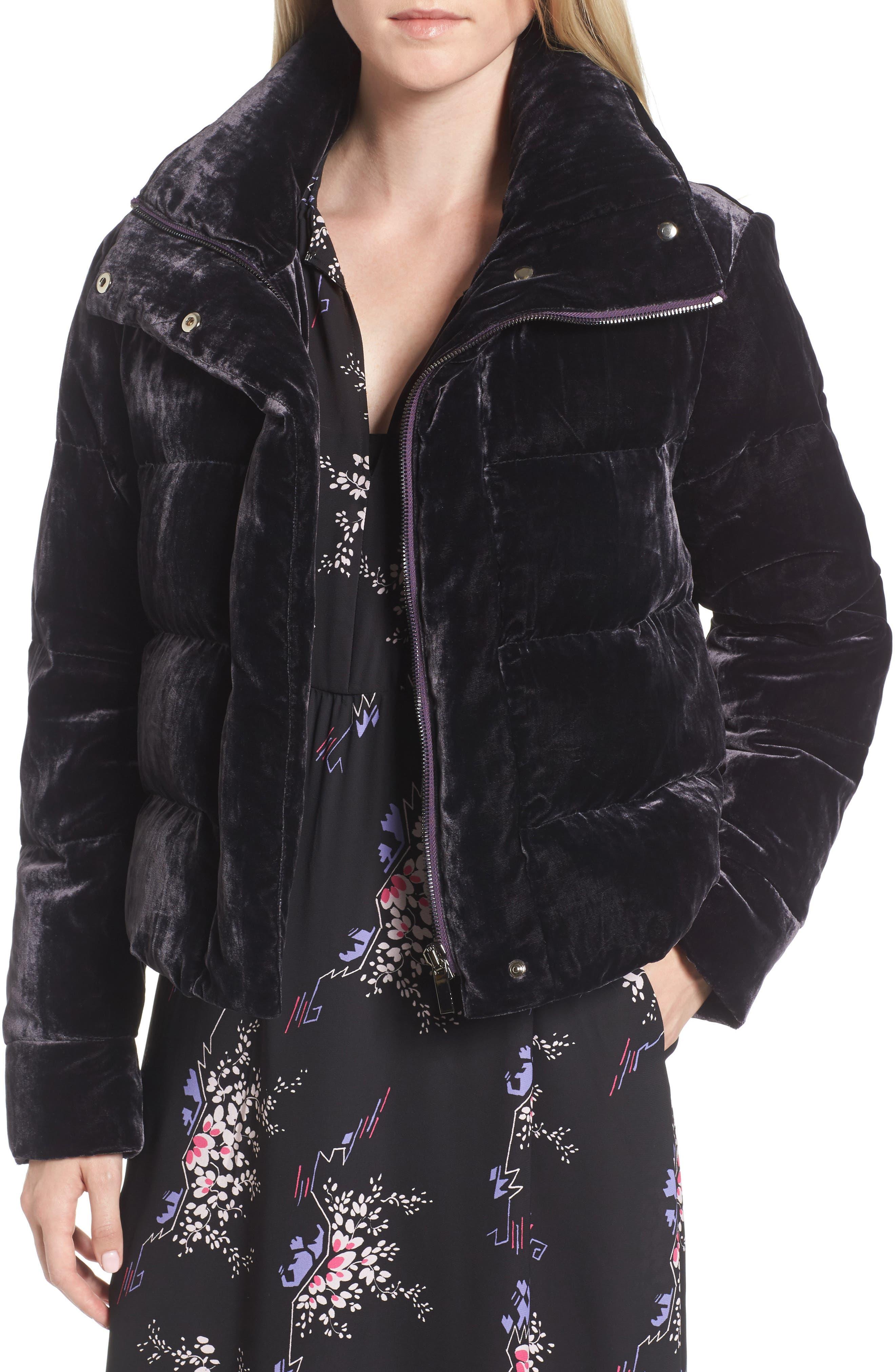 Velvet Puffer Jacket,                         Main,                         color, Purple Night