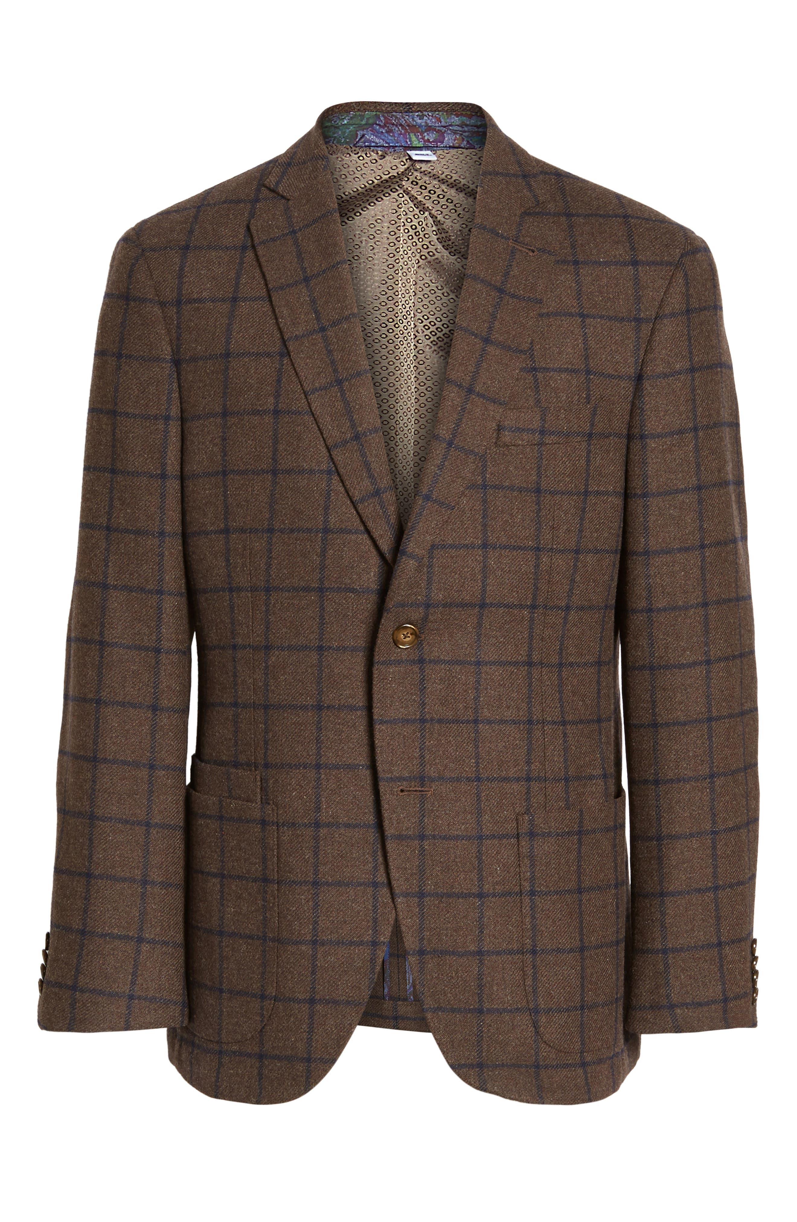 Alternate Image 6  - JKT New York Trim Fit Windowpane Wool Blend Sport Coat