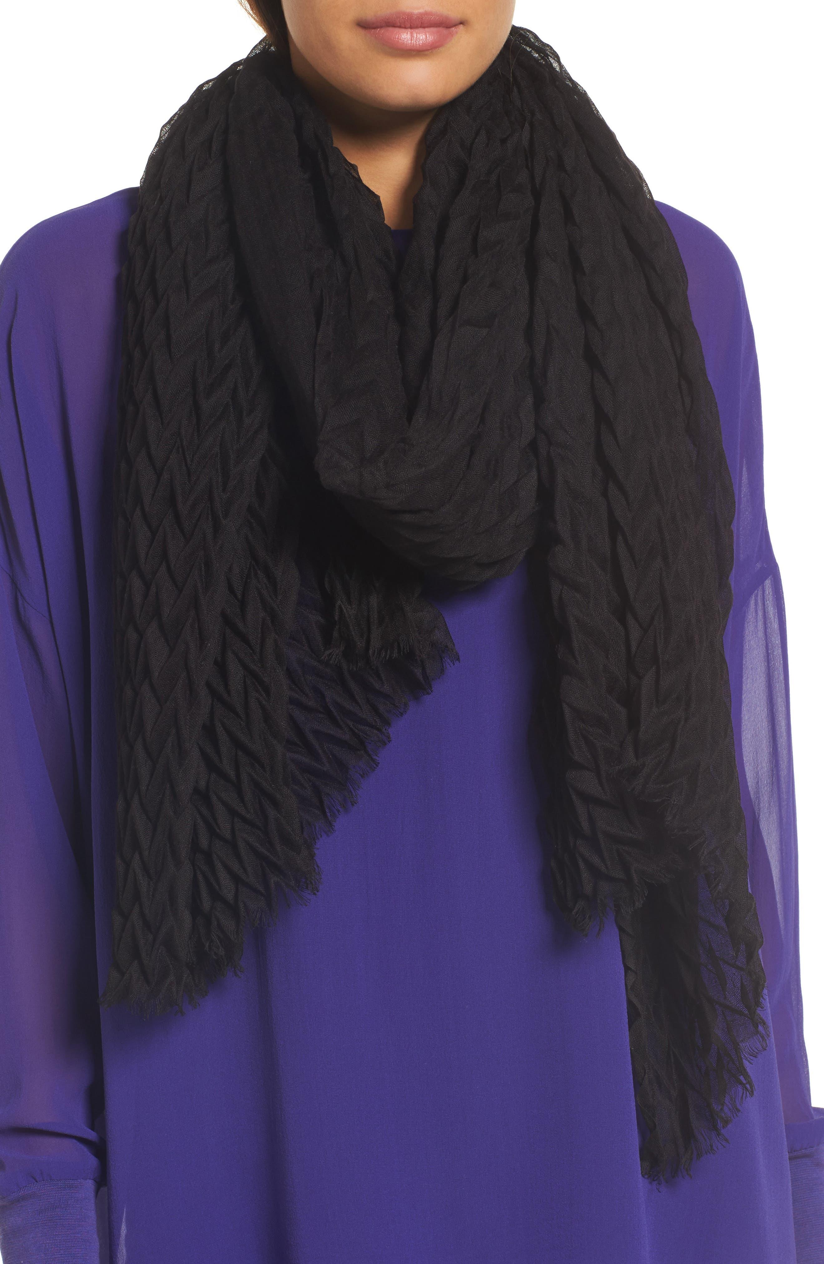 Silk & Wool Wrap,                             Main thumbnail 1, color,                             Black