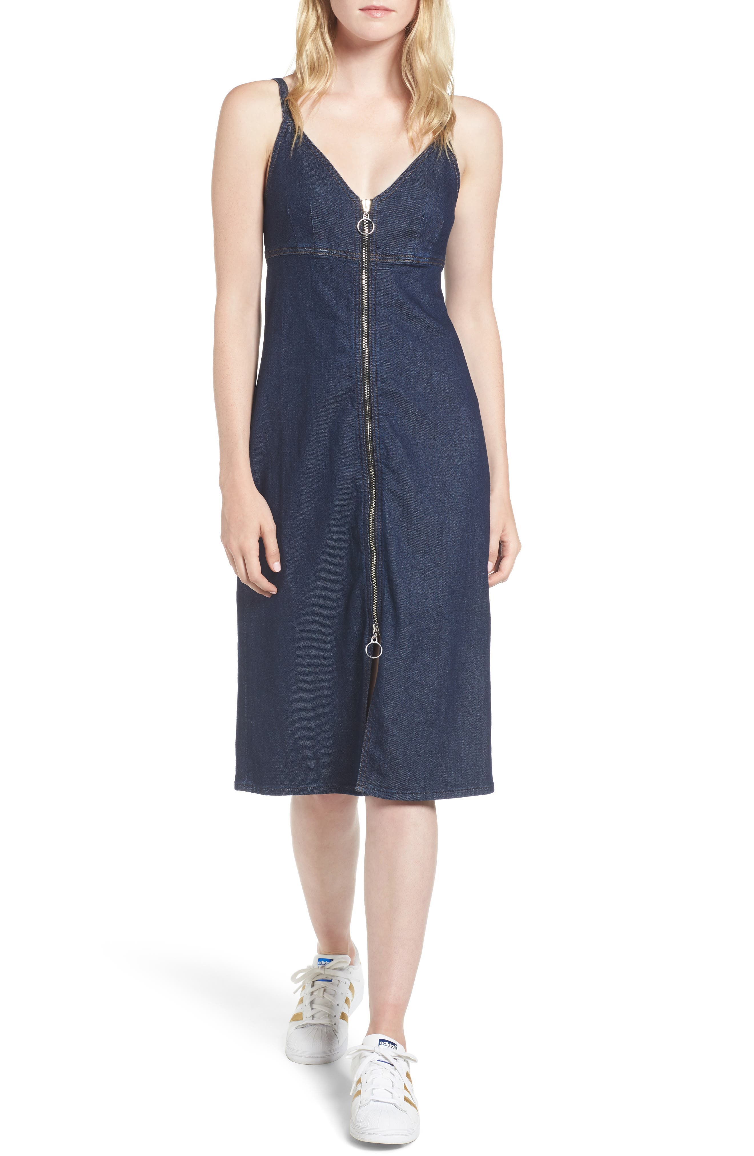 Denim Midi Dress,                             Main thumbnail 1, color,                             Nightfall