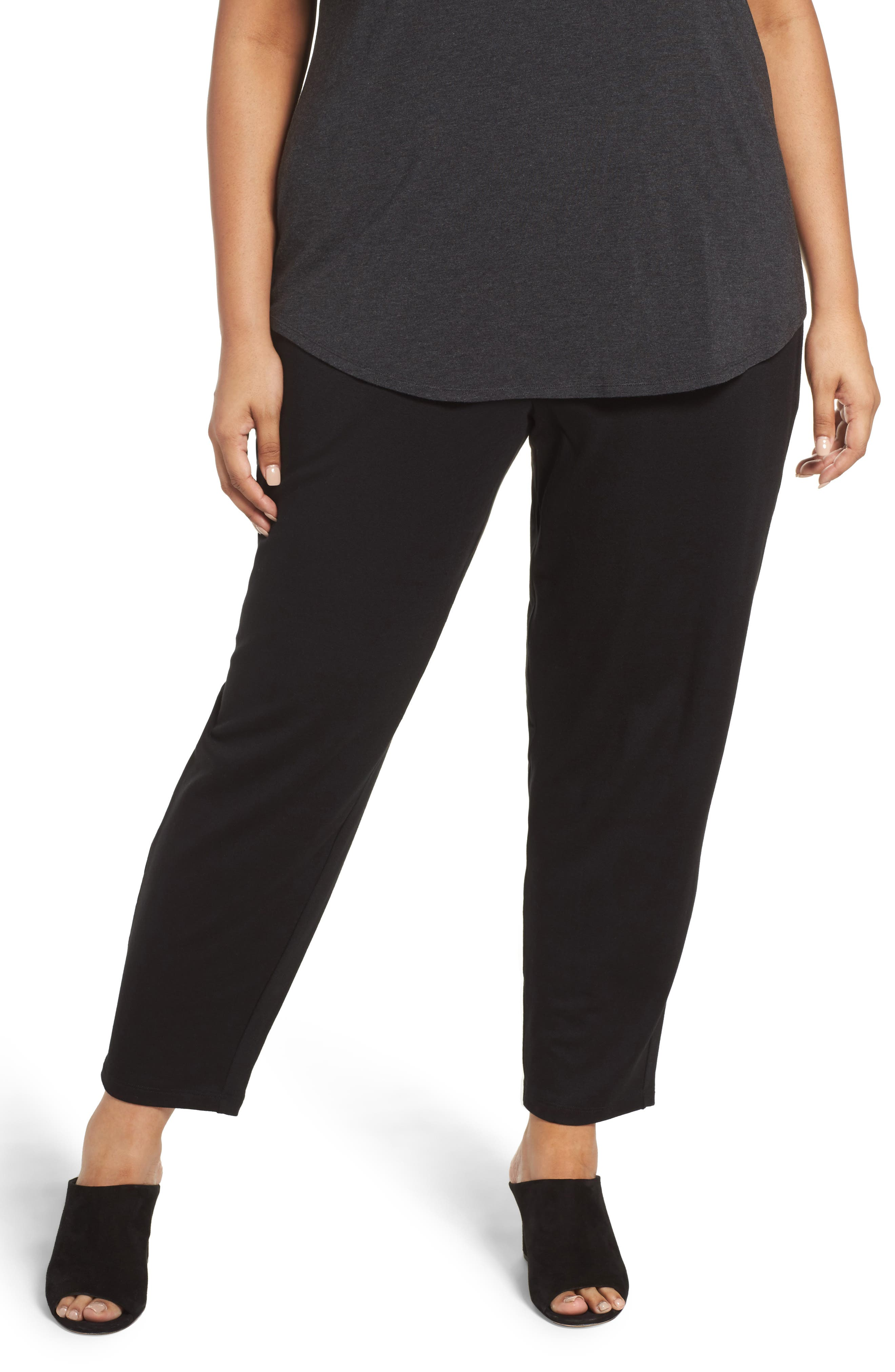 Main Image - Eileen Fisher Drawstring Ankle Pants (Plus Size)