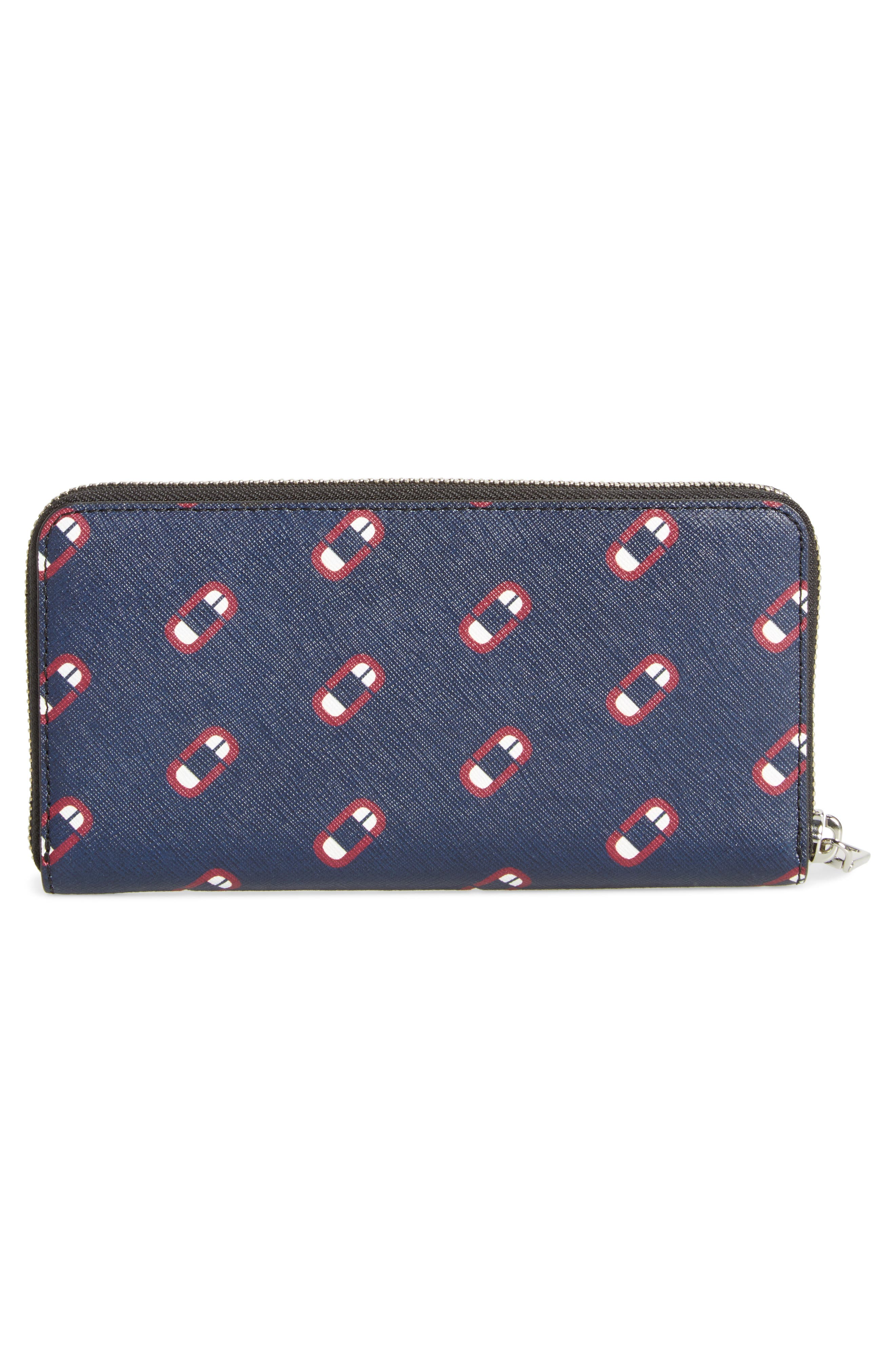 Scream Saffiano Leather Continental Wallet,                             Alternate thumbnail 2, color,                             Navy Multi