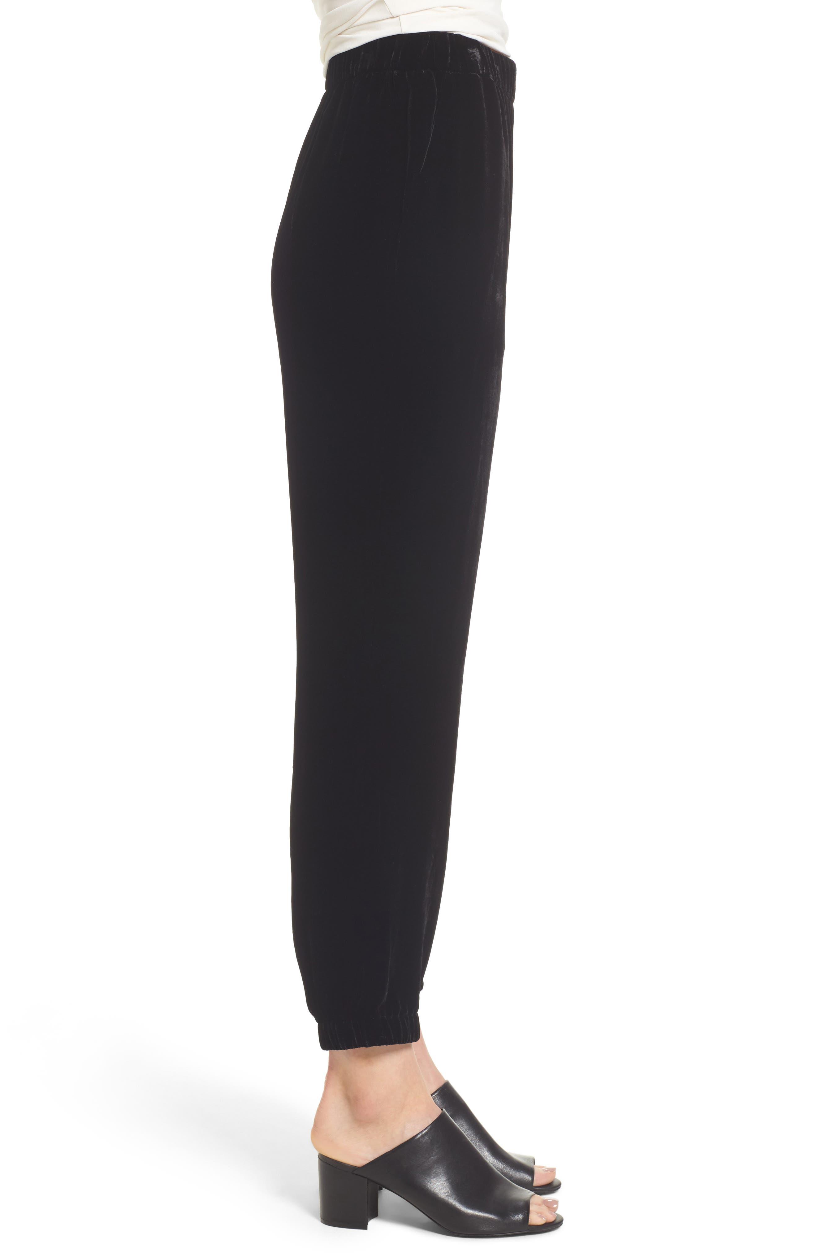 Velvet Jogger Pants,                             Alternate thumbnail 3, color,                             Black
