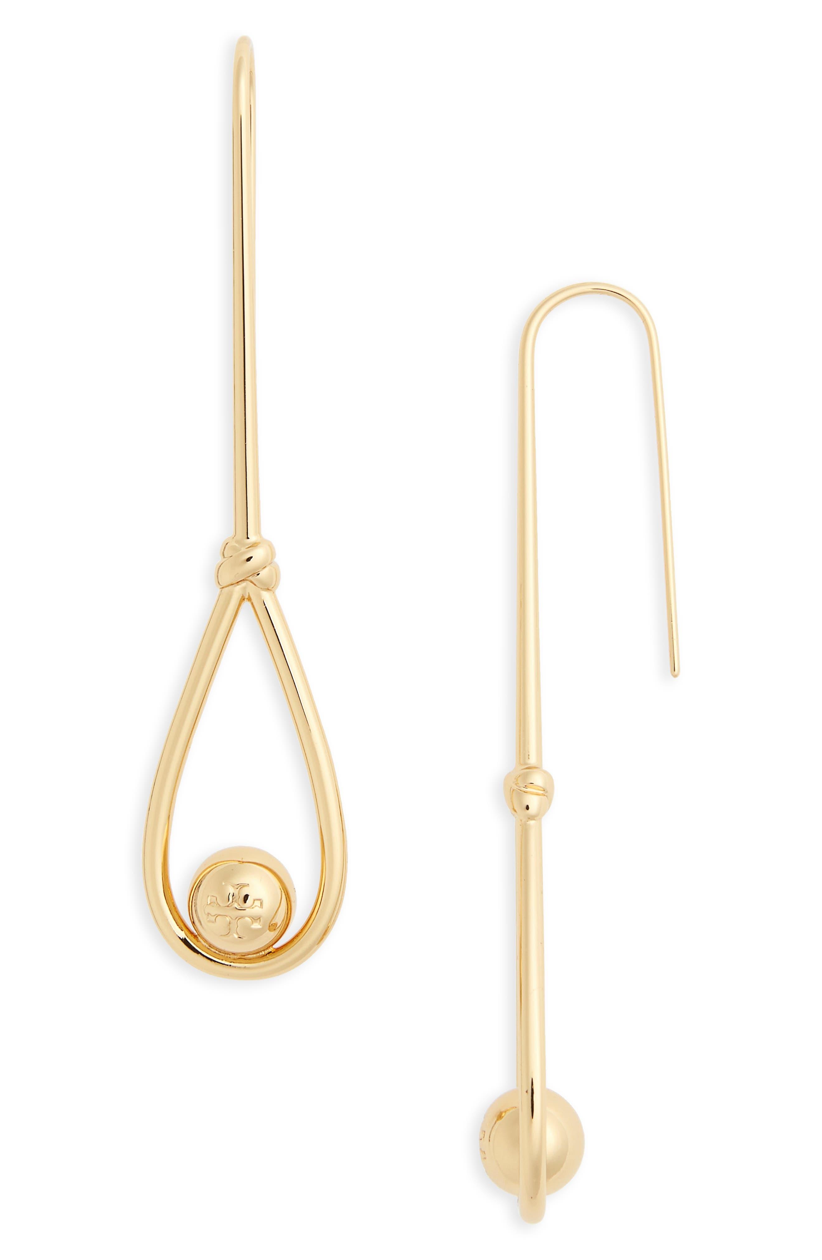 Tory Burch Logo Linear Drop Earrings