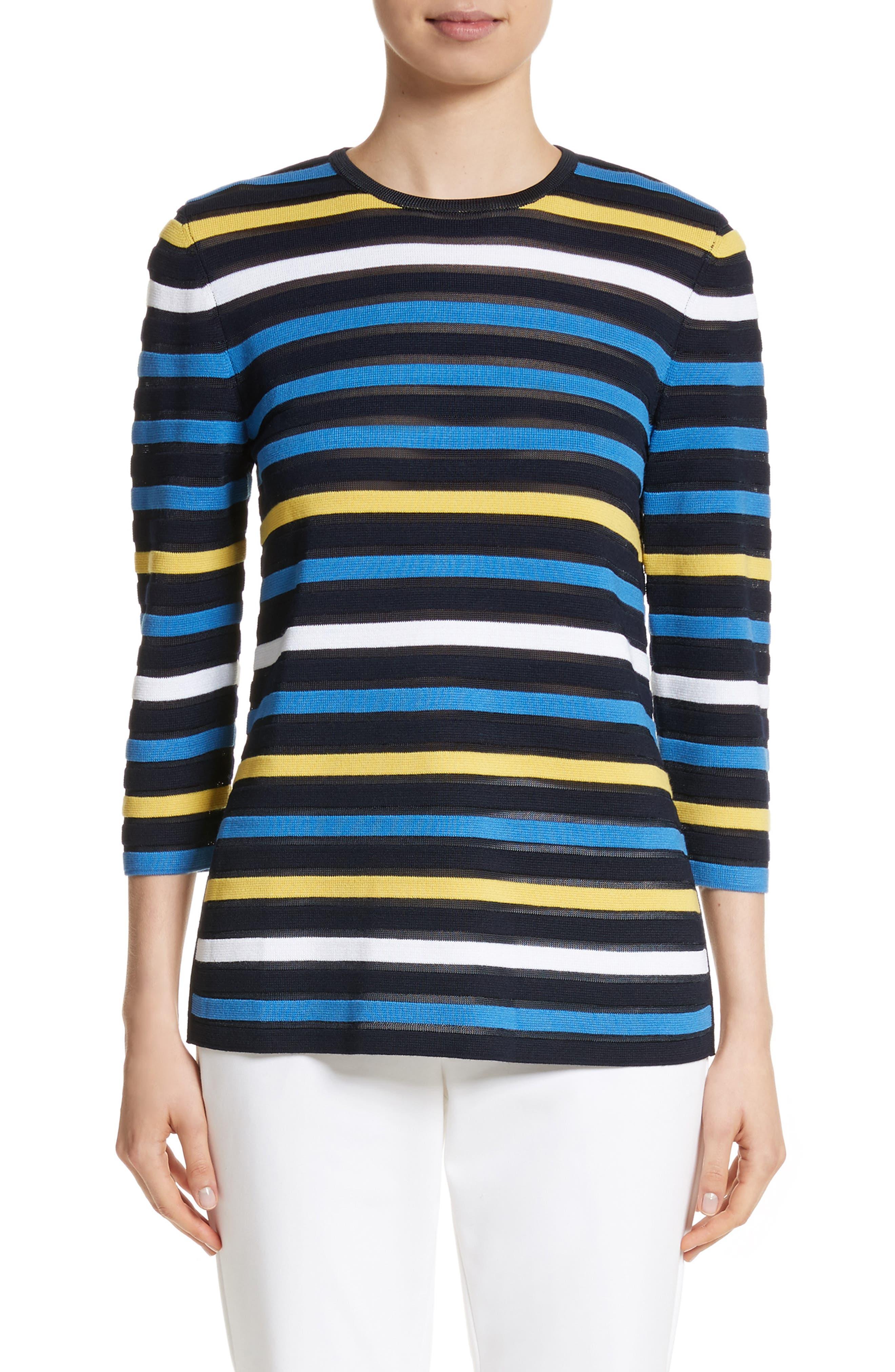 Ombré Stripe Sweater,                             Main thumbnail 1, color,                             Navy Multi