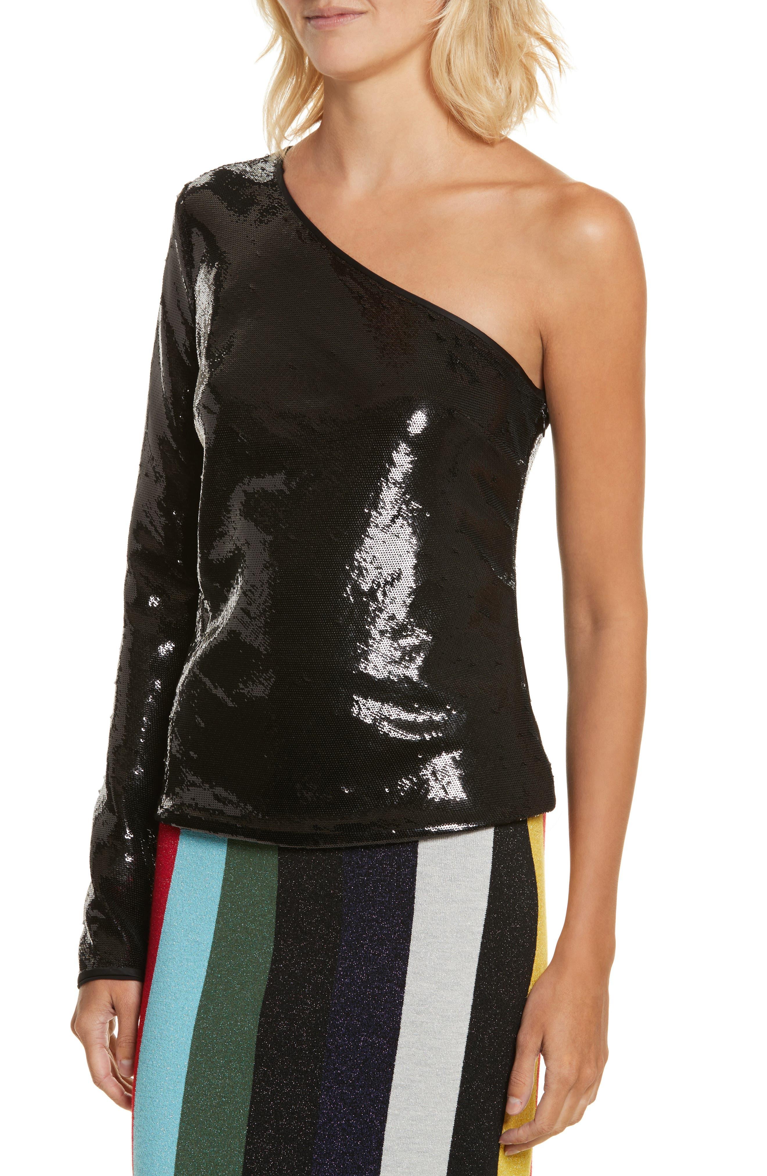 Sequin One-Shoulder Top,                             Alternate thumbnail 4, color,                             Black