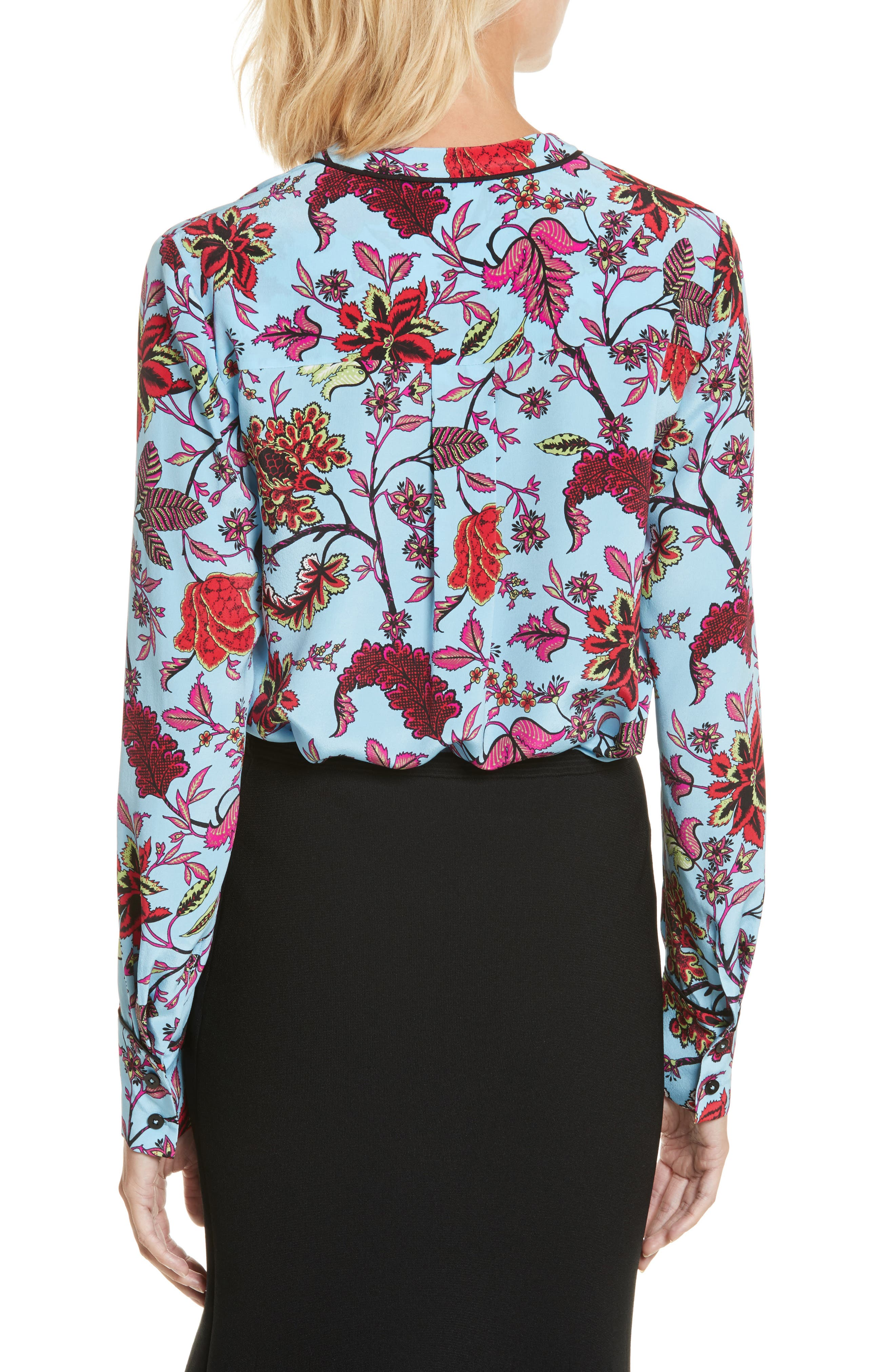 Floral Silk Blouse,                             Alternate thumbnail 2, color,                             Canton Notebook/ Black