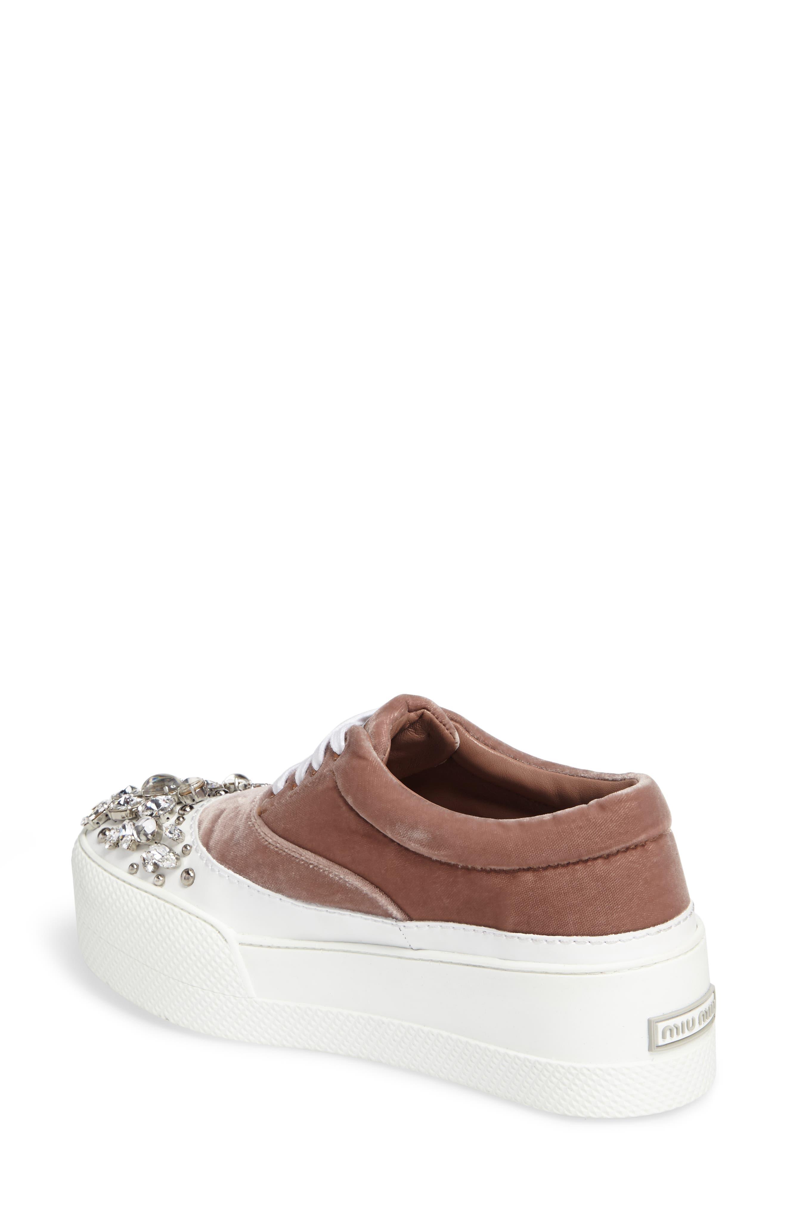 Alternate Image 2  - Miu Miu Embellished Flatform Sneaker (Women)