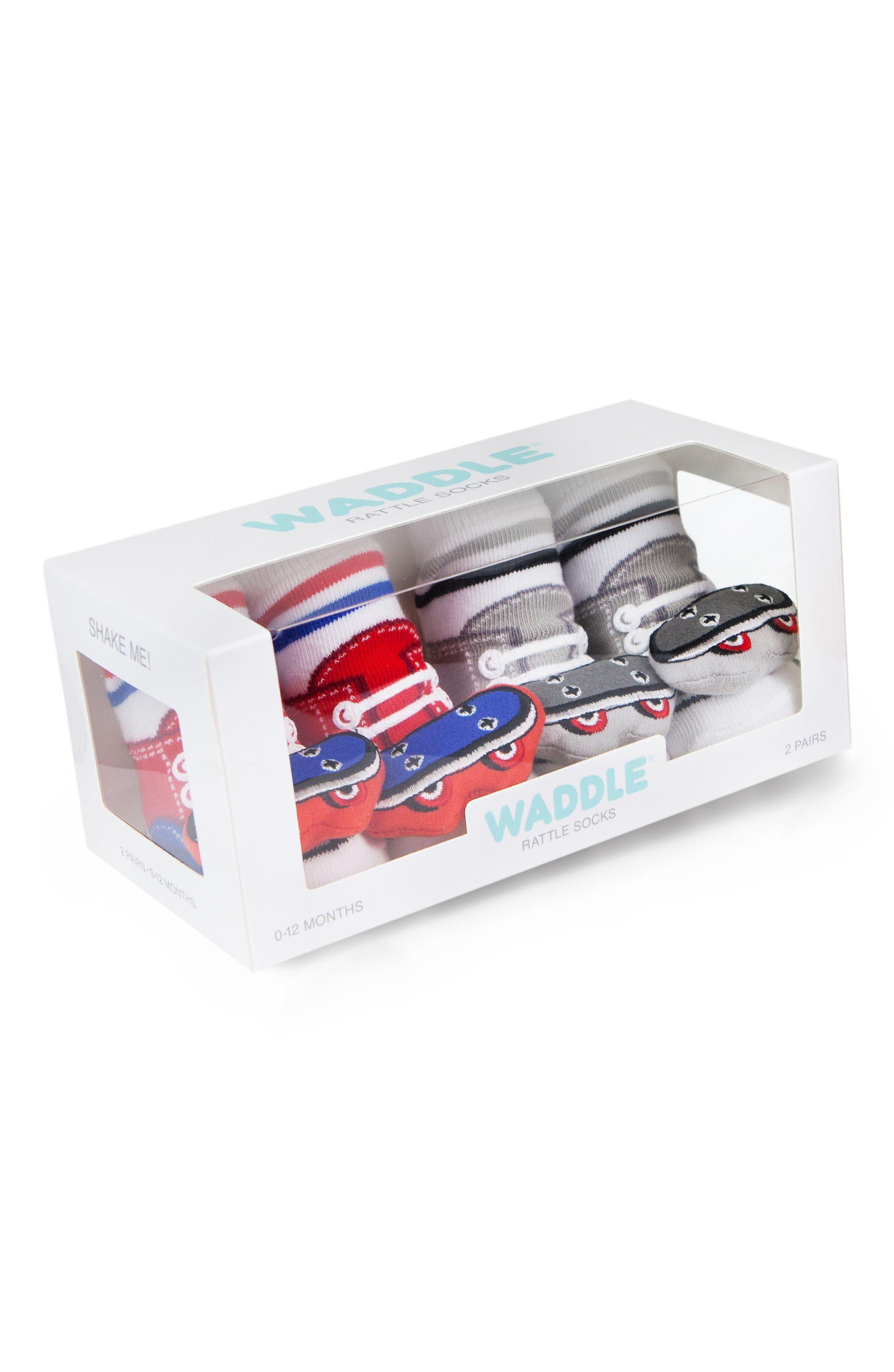 2-Pack Skateboard Rattle Socks,                             Alternate thumbnail 2, color,                             Red/ Grey