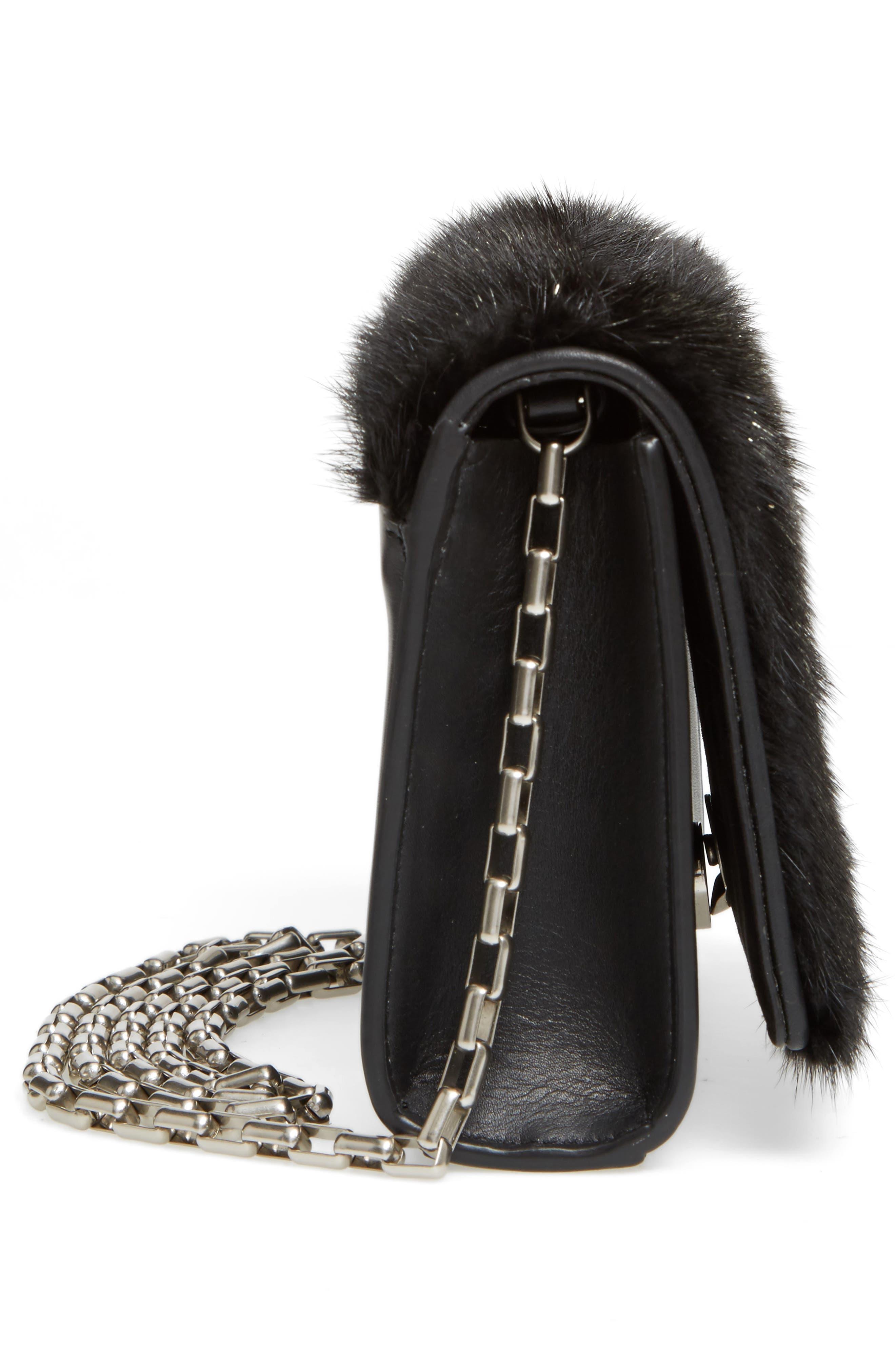 Yasmin Genuine Mink Fur Clutch,                             Alternate thumbnail 5, color,                             Black