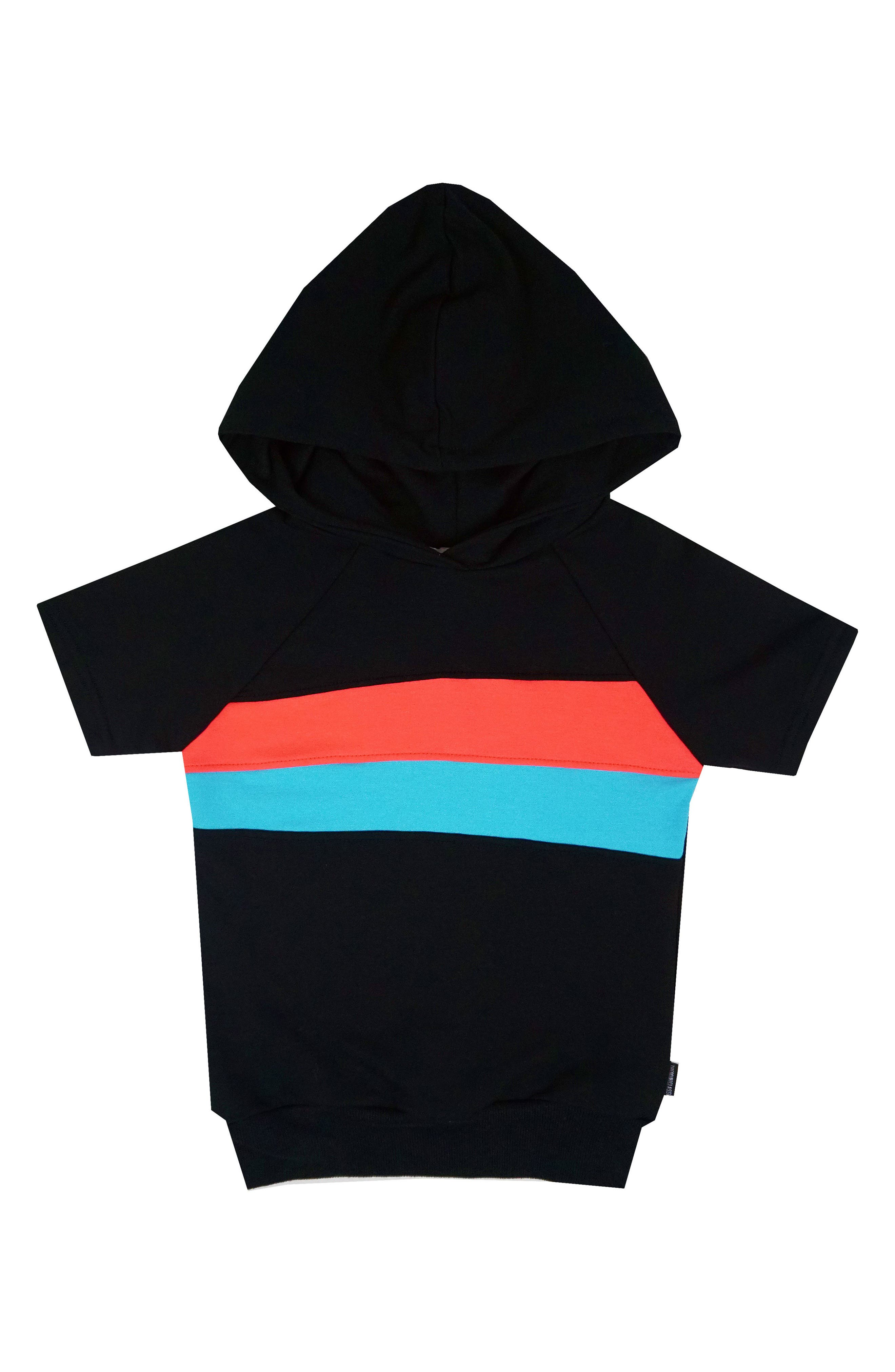 THEMINICLASSY Colorblock Short Sleeve Hoodie (Toddler Boys & Little Boys)