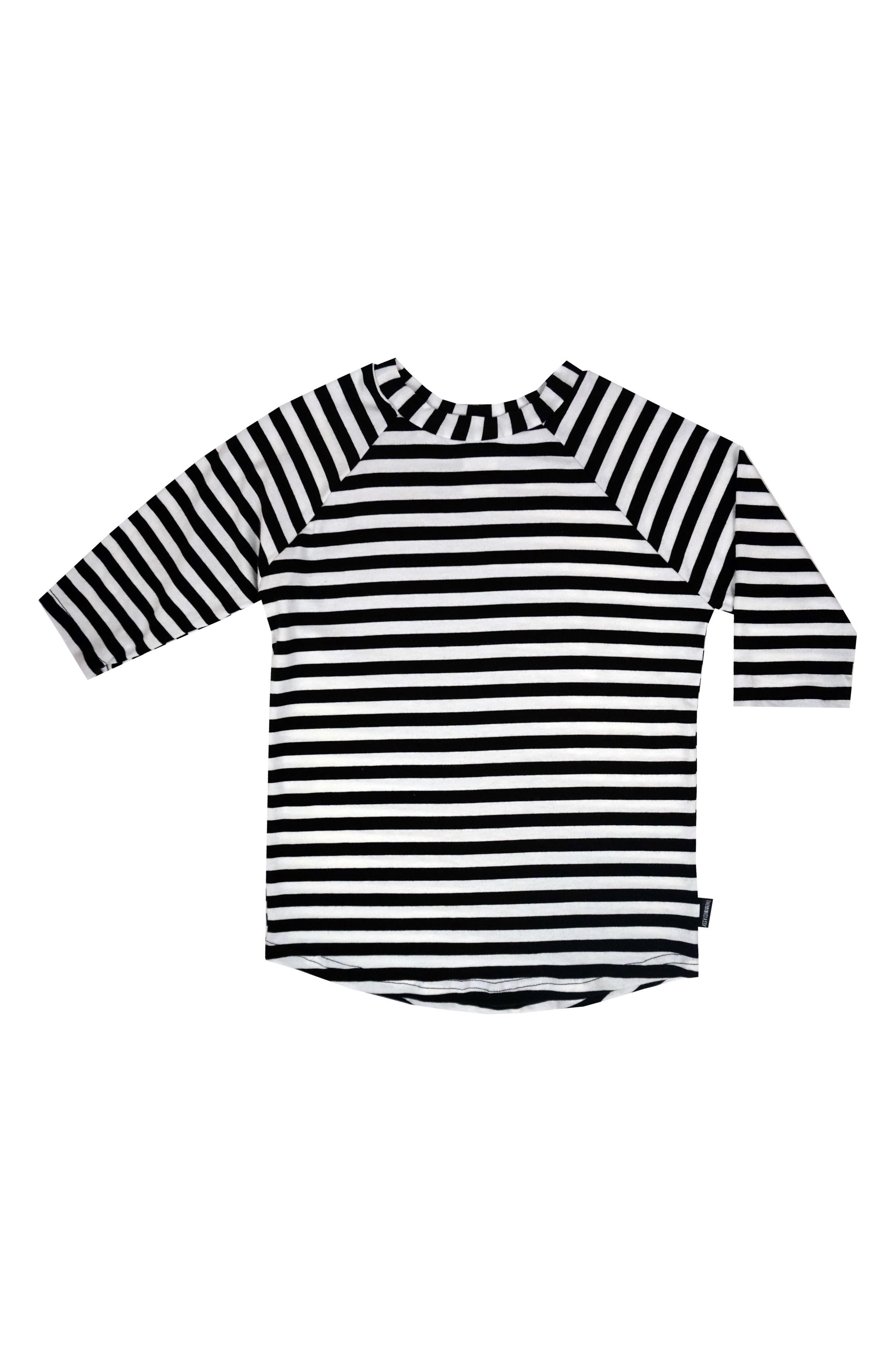 Raglan Sleeve T-Shirt,                         Main,                         color, Black/ White Stripe