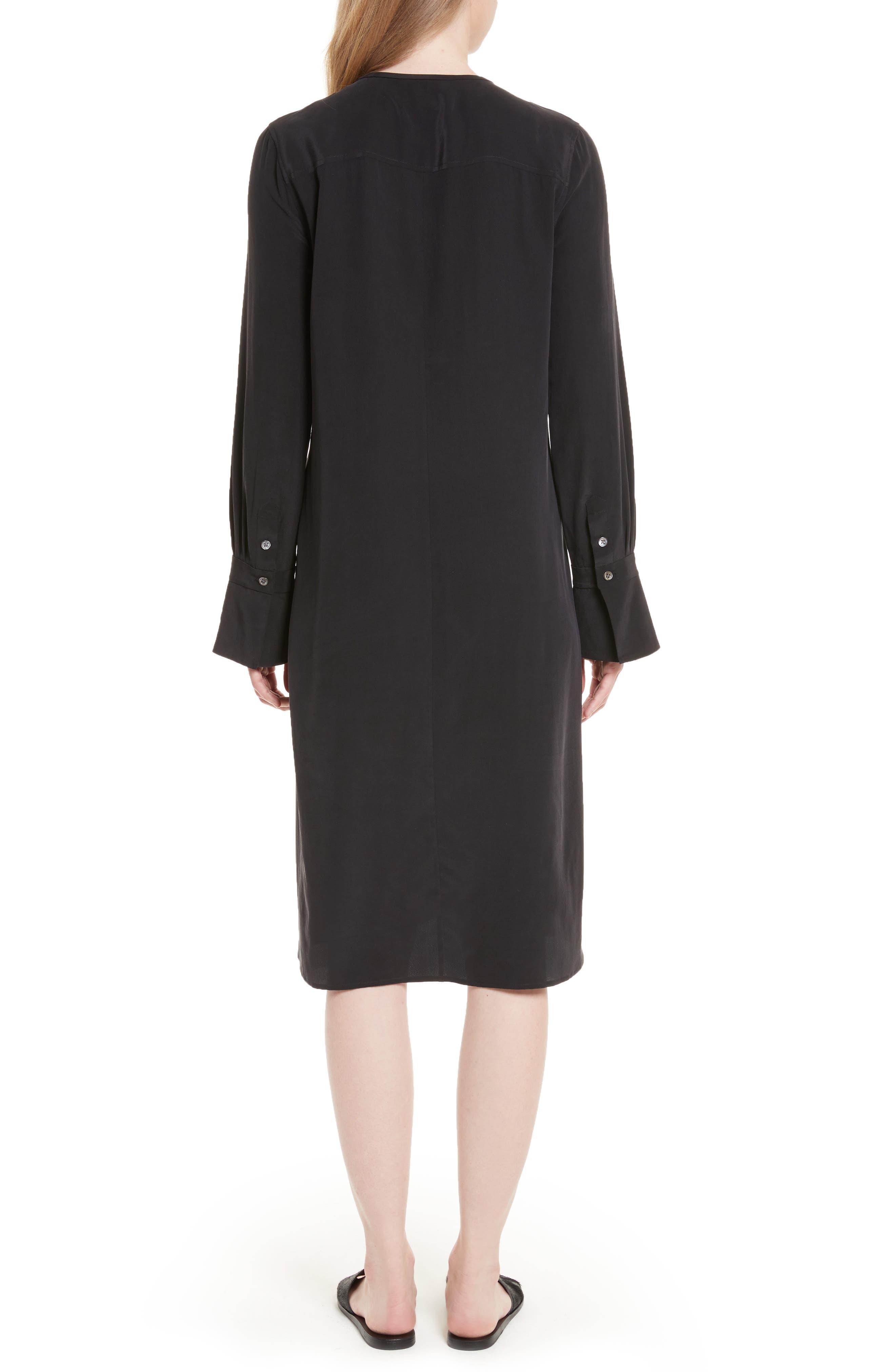 Granger Silk Dress,                             Alternate thumbnail 2, color,                             True Black