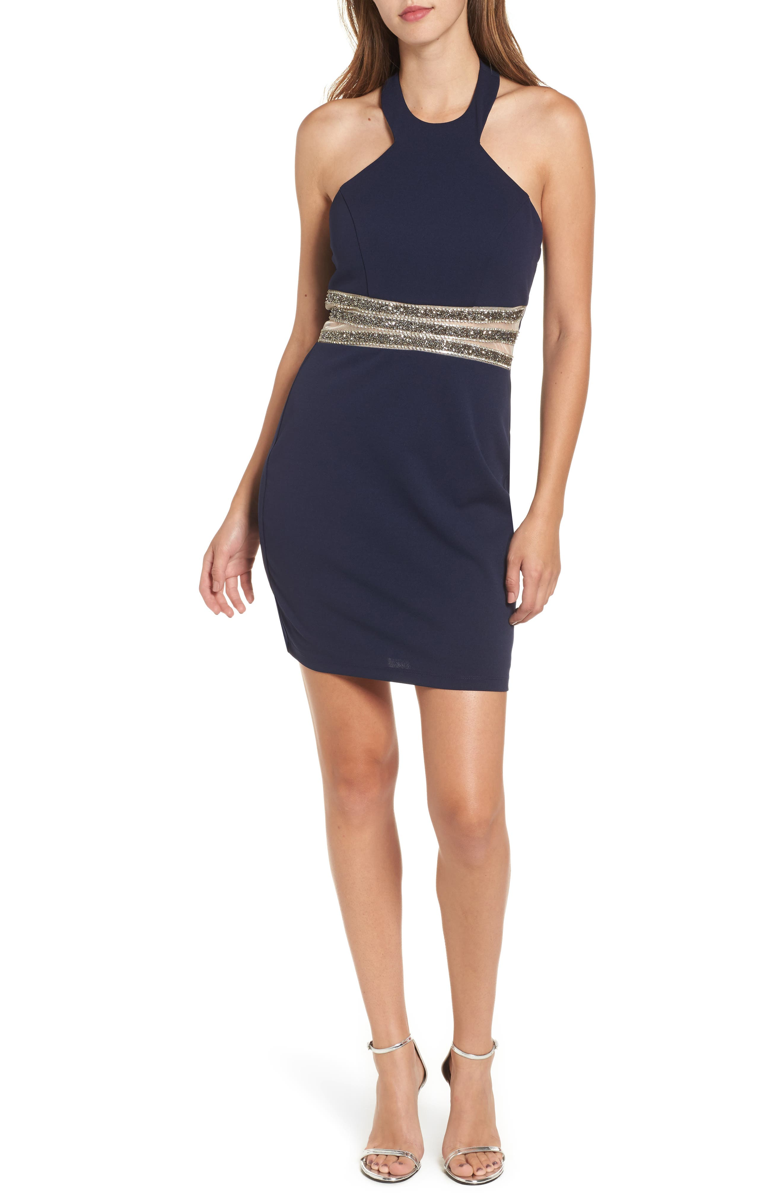 Speechless Embellished Halter Body-Con Dress
