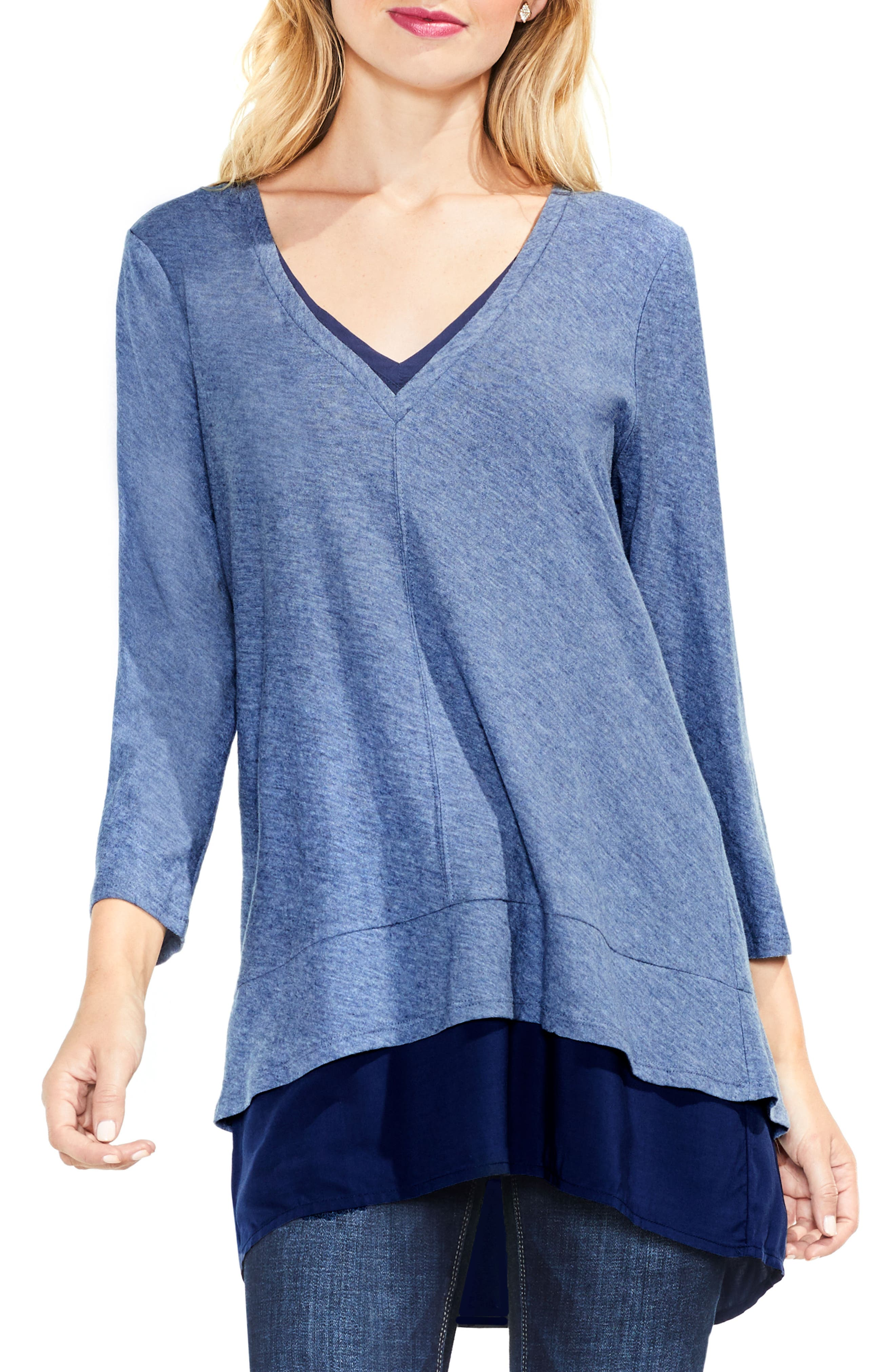 Alternate Image 1 Selected - Two by Vince Camuto Mixed Media Tunic (Regular & Petite)