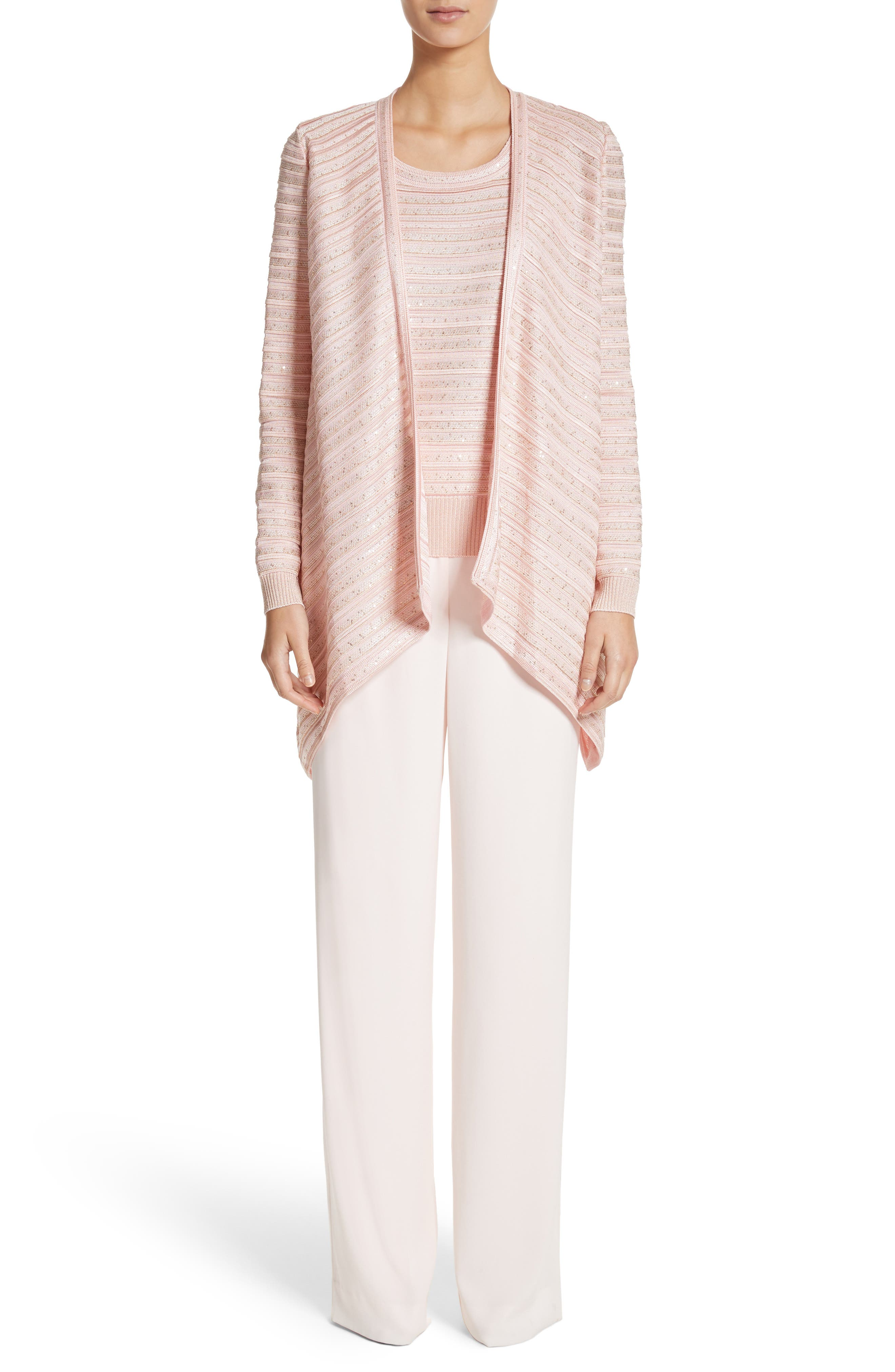 Welted Sequin Knit Shell,                             Alternate thumbnail 6, color,                             Blush