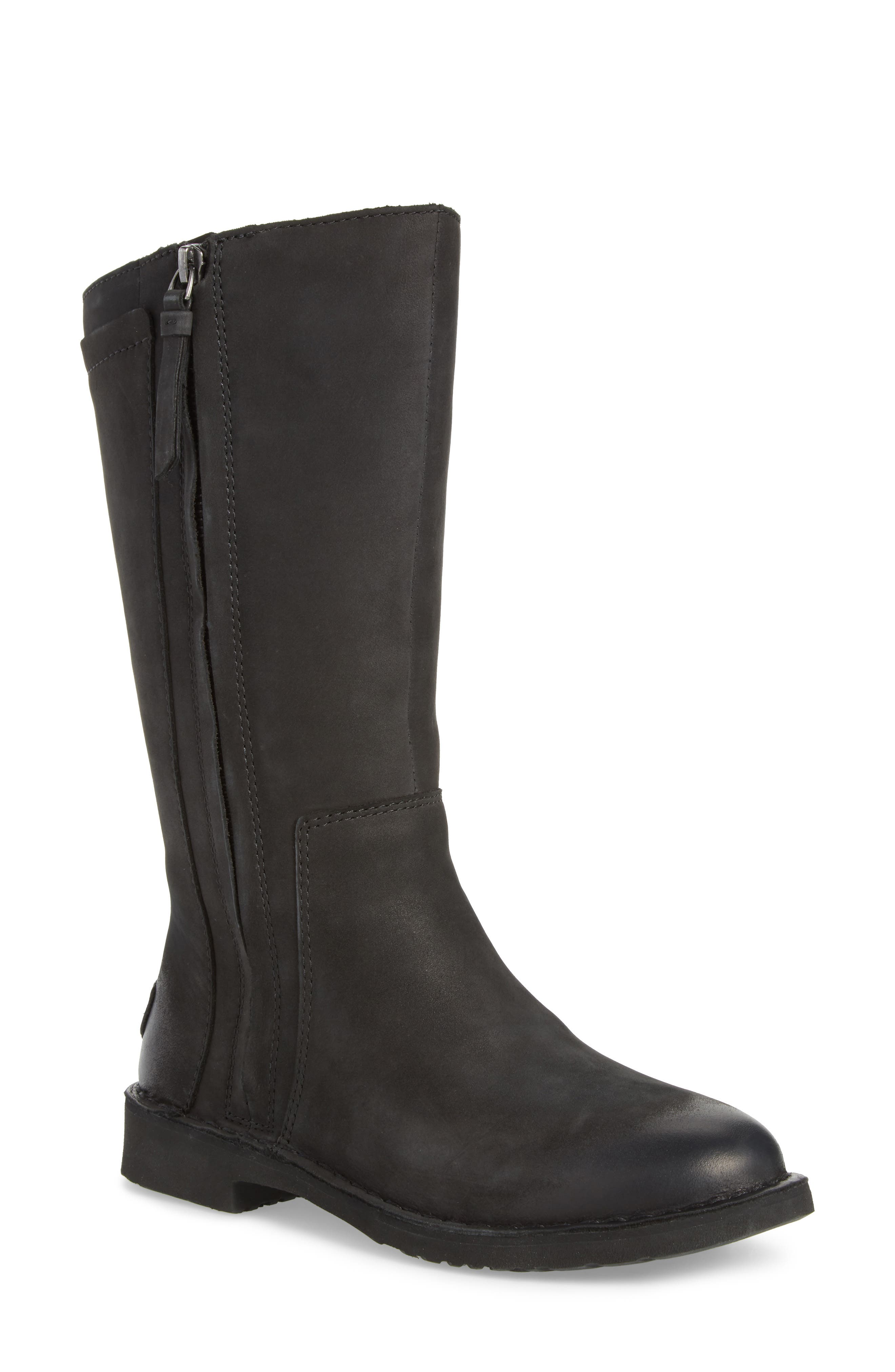 Elly Boot,                             Main thumbnail 1, color,                             Black Nubuck Leather