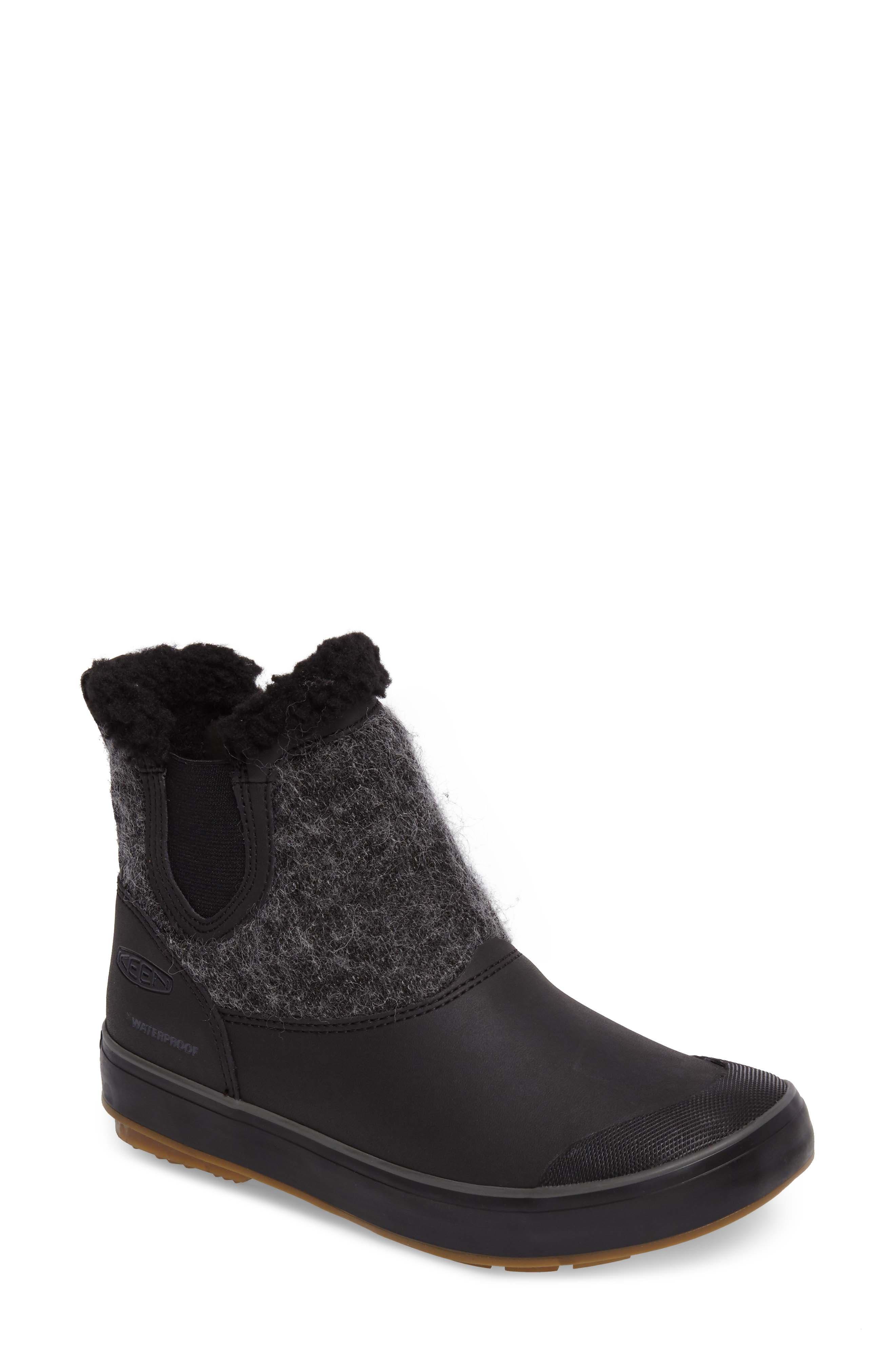 Elsa Chelsea Waterproof Faux Fur Lined Boot,                         Main,                         color, Black Wool Leather