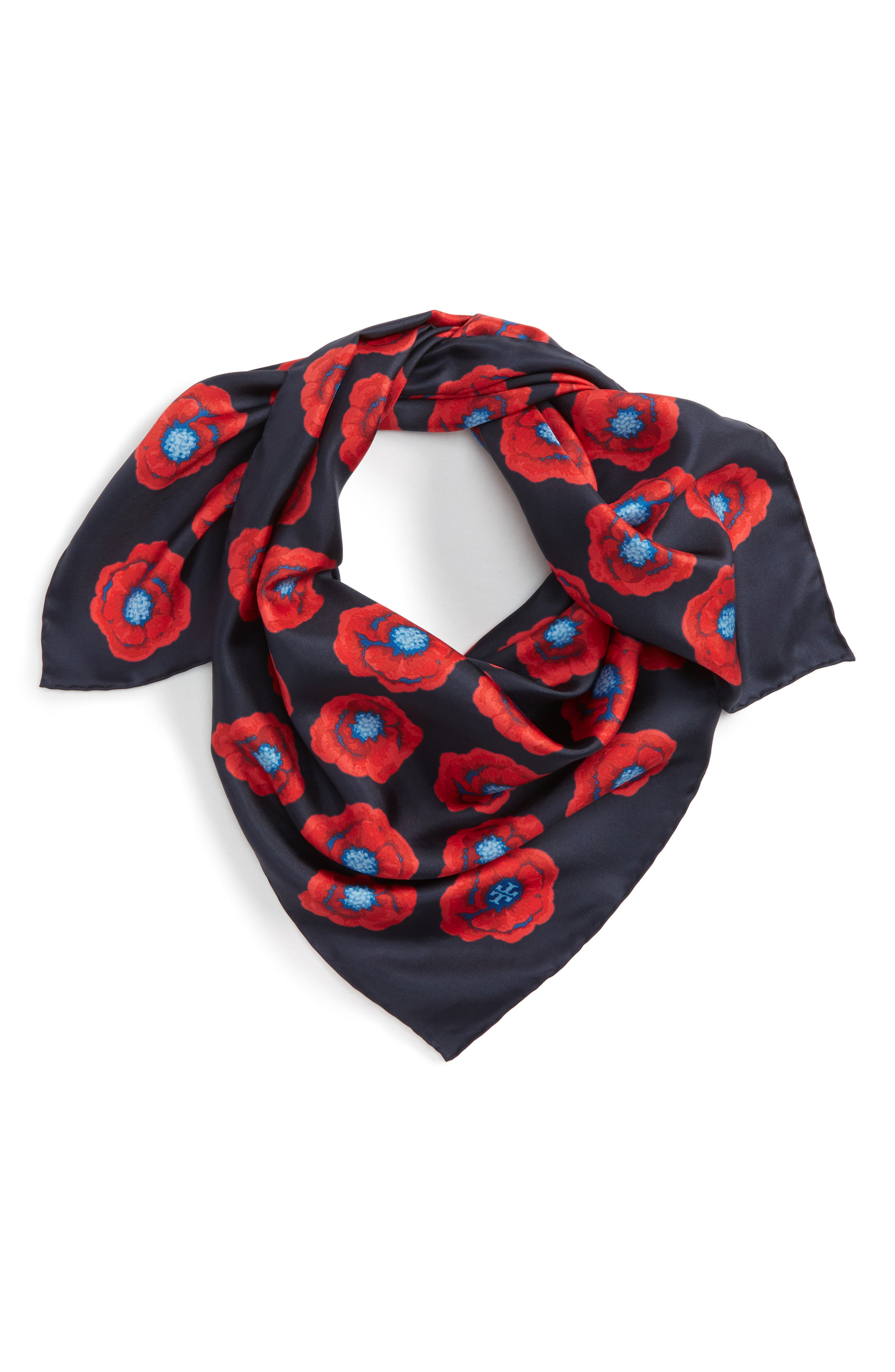 Poppy Silk Square Scarf,                         Main,                         color, Tory Navy Floral