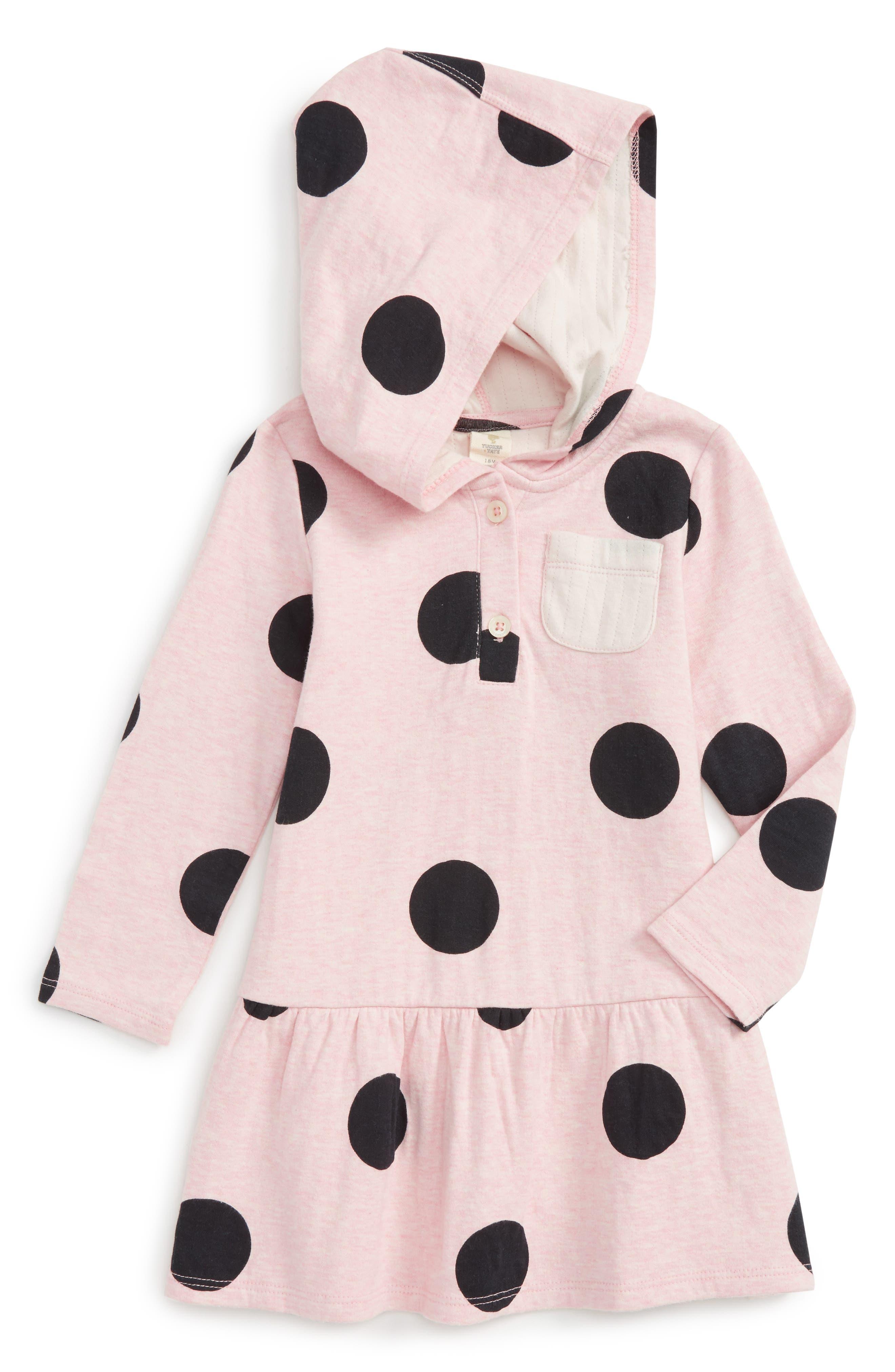Hooded Dress,                         Main,                         color, Pink Glow Heather Big Dot