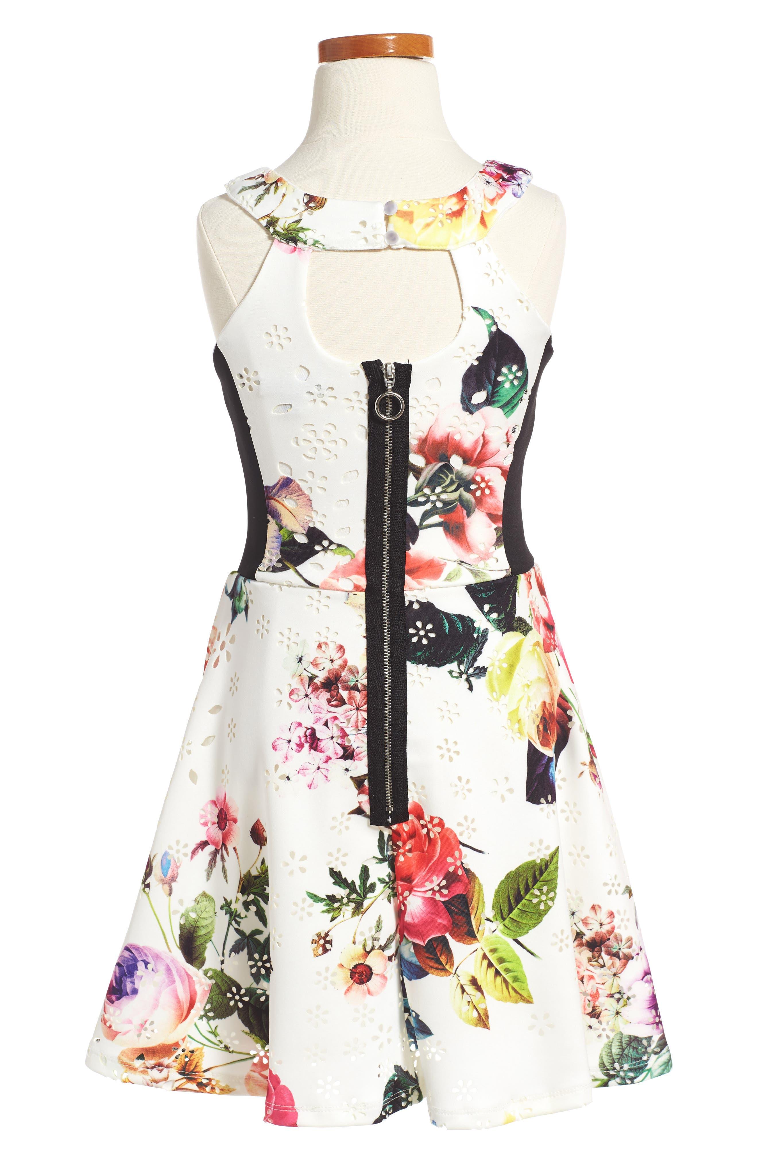 Floral Print Sleeveless Dress,                             Alternate thumbnail 2, color,                             Cream Multi