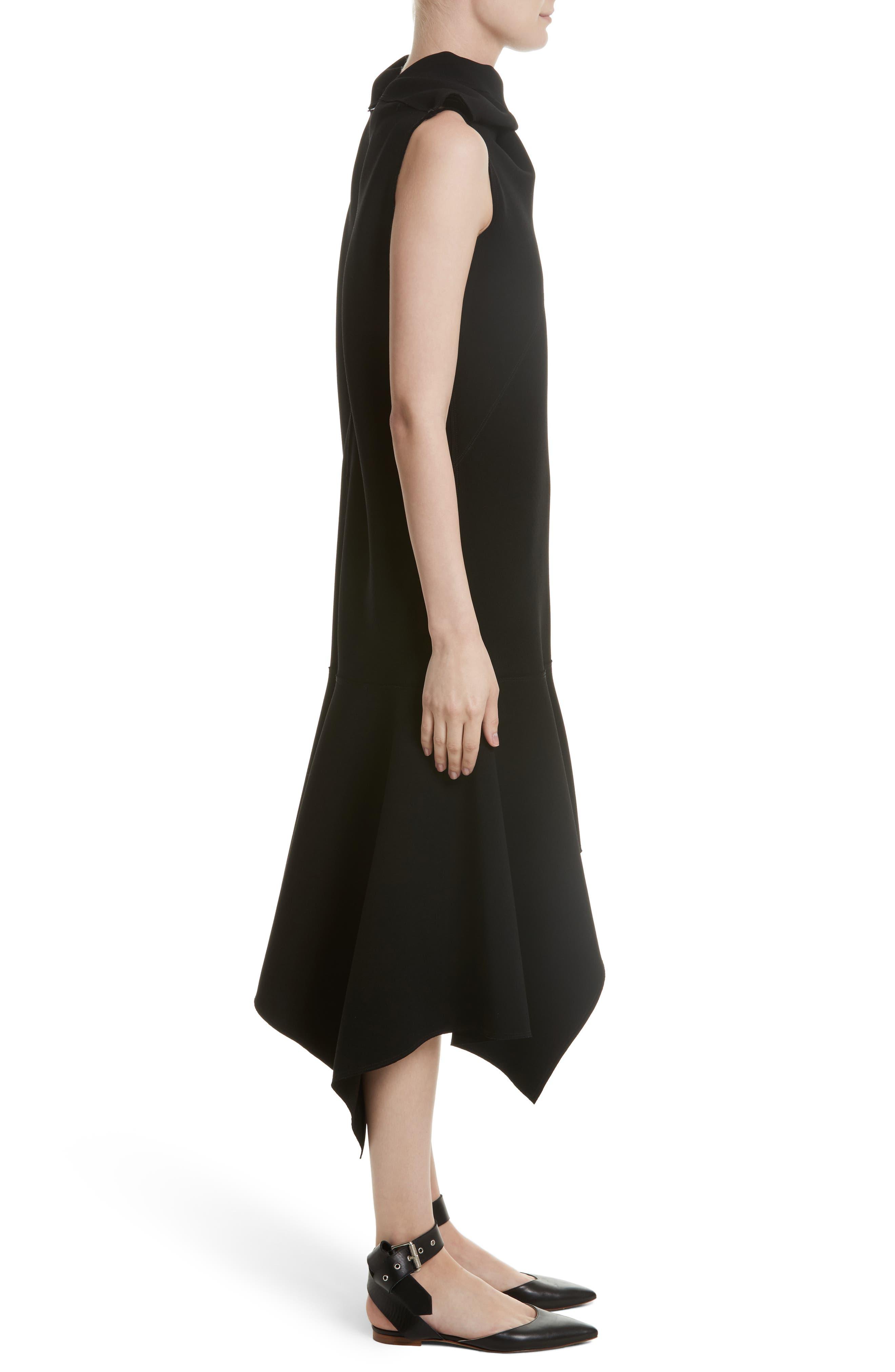 Knotted Neckline Drop Waist Dress,                             Alternate thumbnail 4, color,                             Black