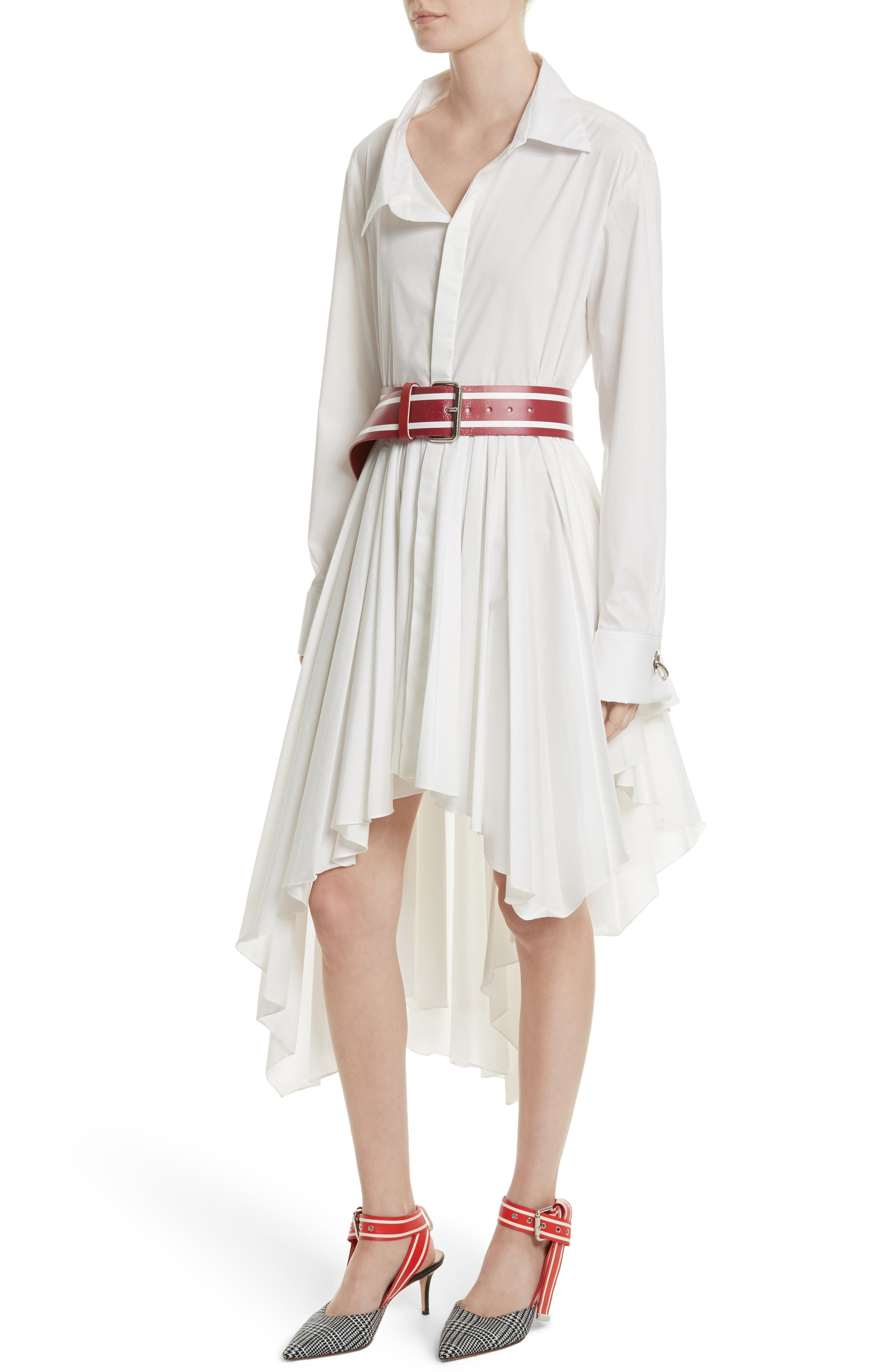 Pleated Asymmetrical Shirtdress,                         Main,                         color, White