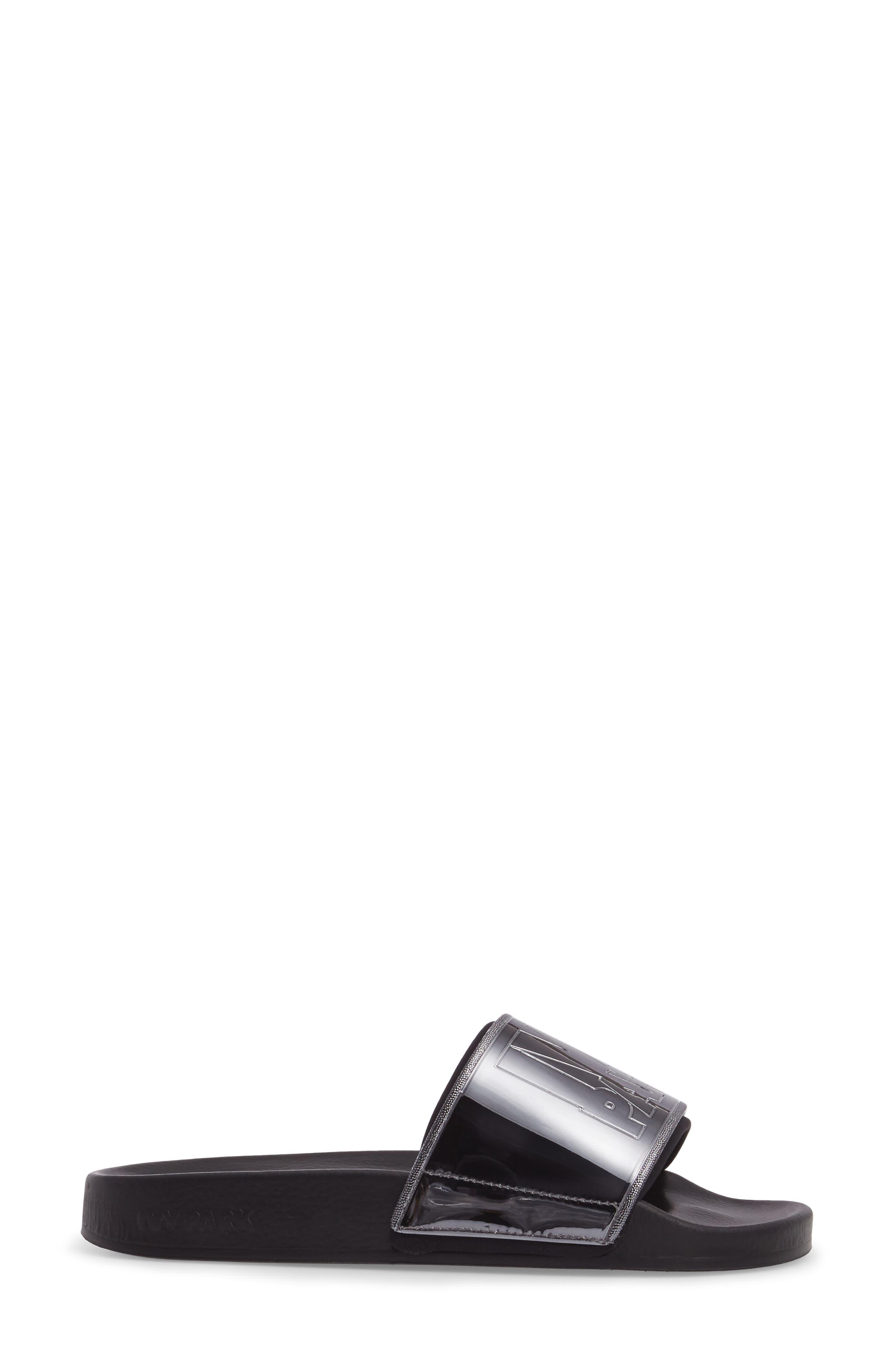 Neoprene Lined Logo Slide Sandal,                             Alternate thumbnail 3, color,                             Gunmetal