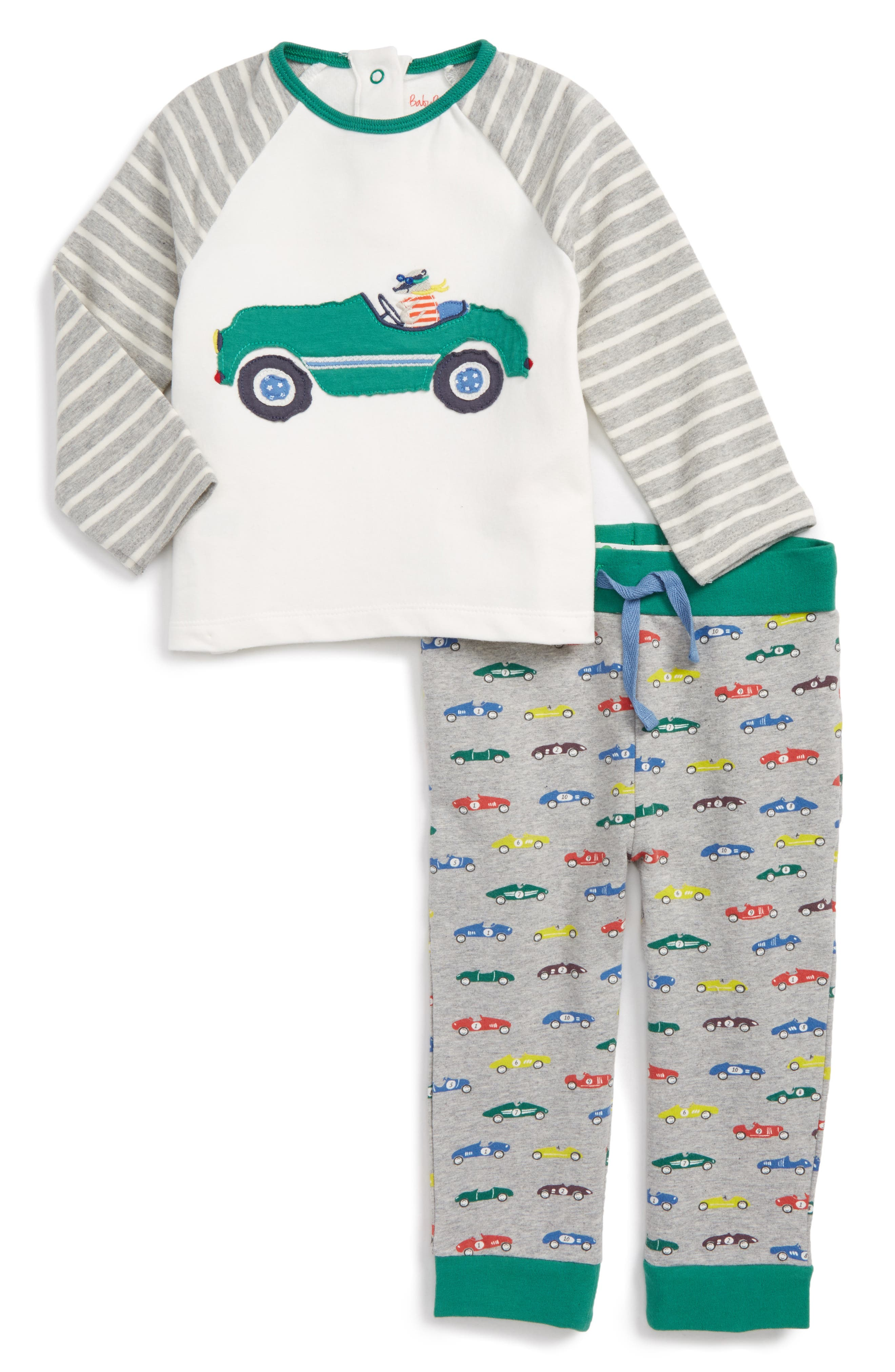 Appliqué T-Shirt & Print Pants Set,                             Main thumbnail 1, color,                             Grey Marl Vintage Cars