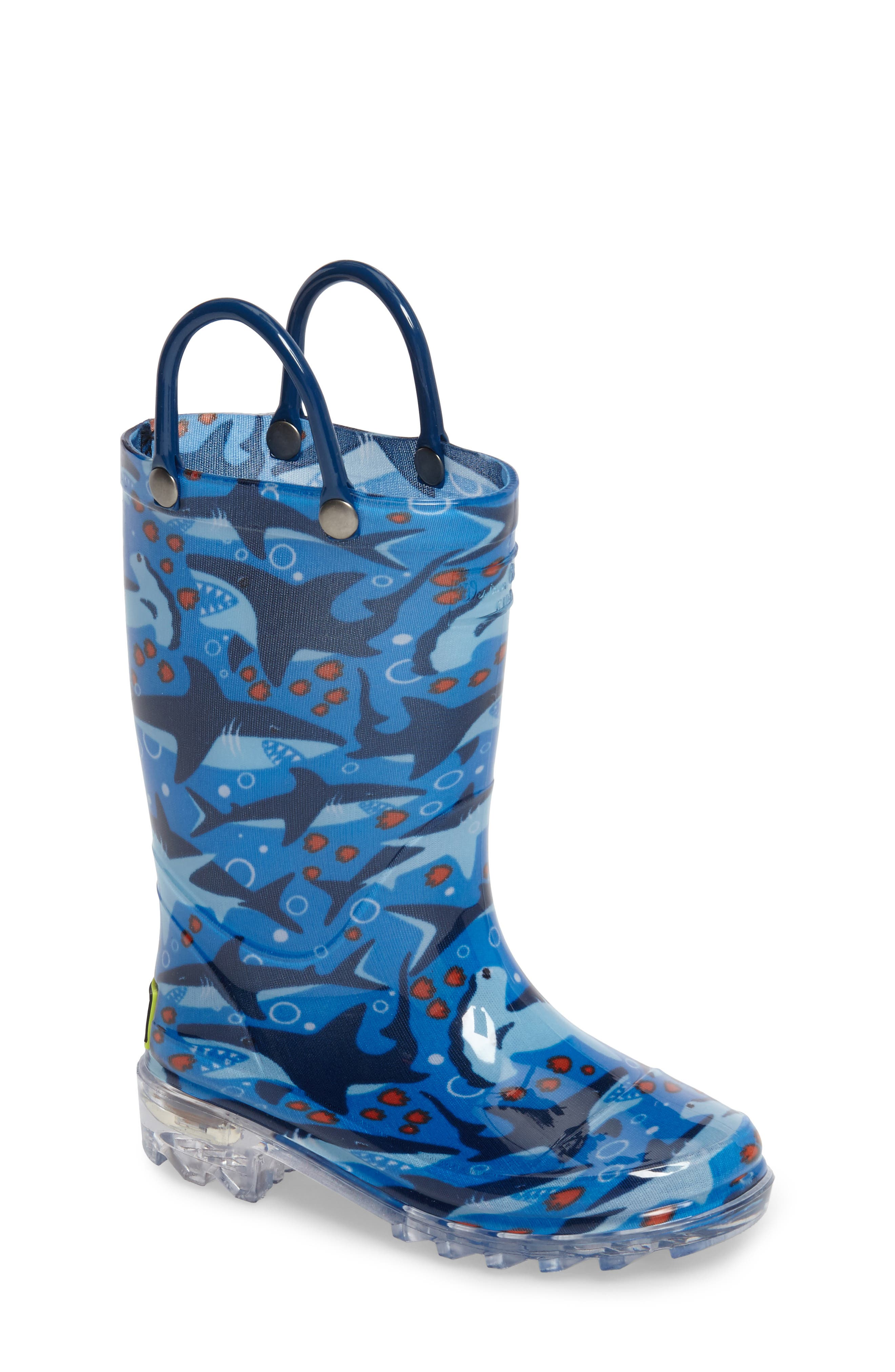 Main Image - Western Chief Shark Chase Light-Up Rain Boot (Toddler & Little Kid)